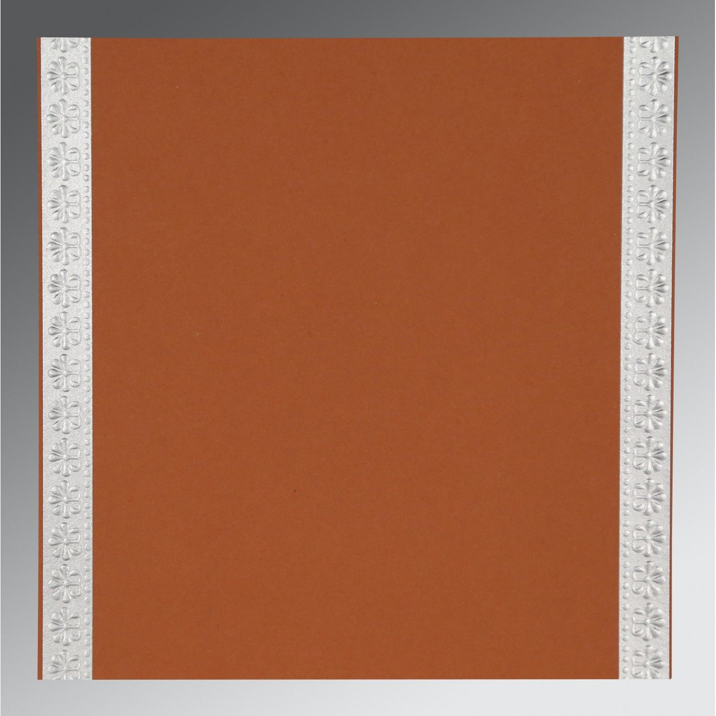 BROWN RUST MATTE PAISLEY THEMED - EMBOSSED WEDDING INVITATION : CW-8231E - IndianWeddingCards