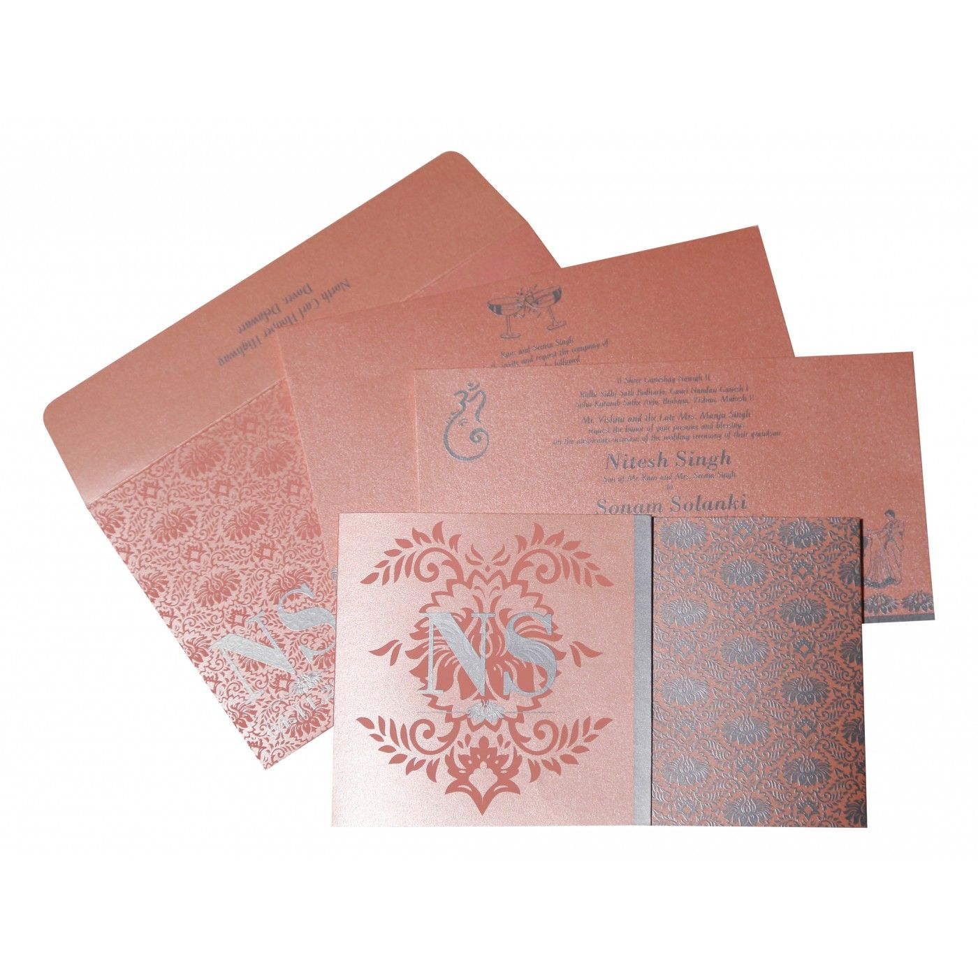 BABY PINK SHIMMERY DAMASK THEMED - SCREEN PRINTED WEDDING INVITATION : CG-8261D - IndianWeddingCards