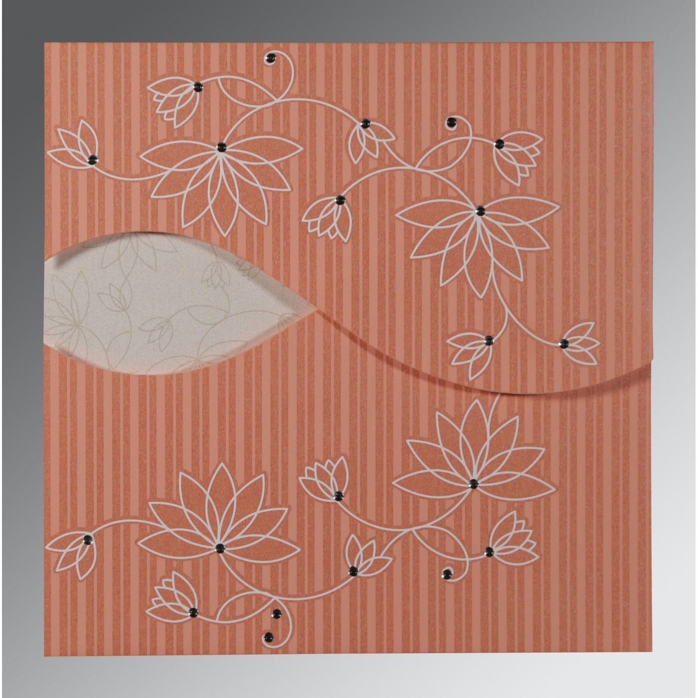 CORAL SHIMMERY FLORAL THEMED - SCREEN PRINTED WEDDING INVITATION : CS-8251I - IndianWeddingCards