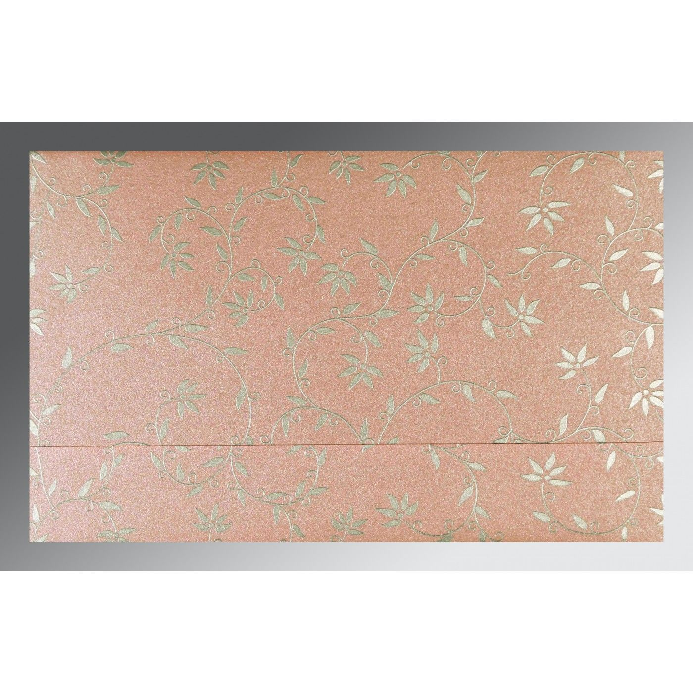 BABY PINK SHIMMERY FLORAL THEMED - SCREEN PRINTED WEDDING INVITATION : CSO-8226B - IndianWeddingCards