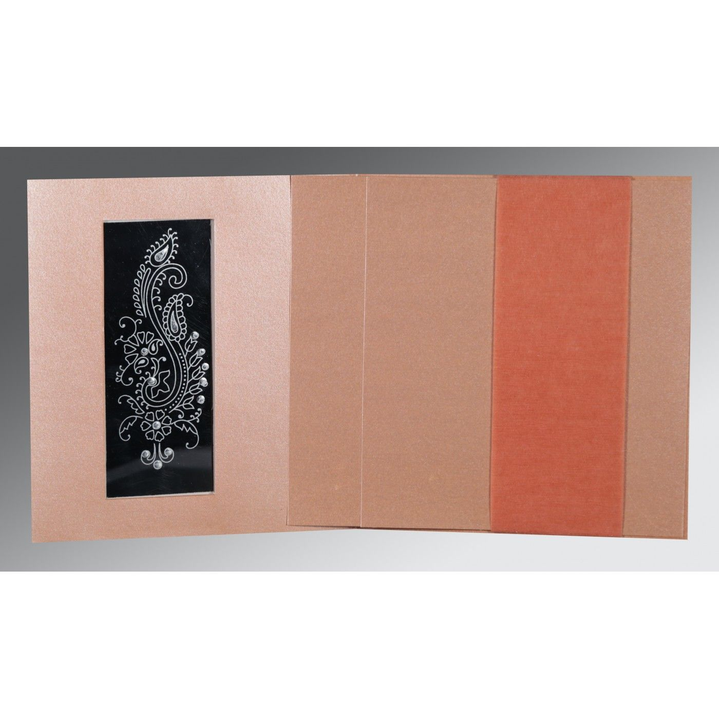 PINK SHIMMERY PAISLEY THEMED - FOIL STAMPED WEDDING INVITATION : CG-8230A - IndianWeddingCards