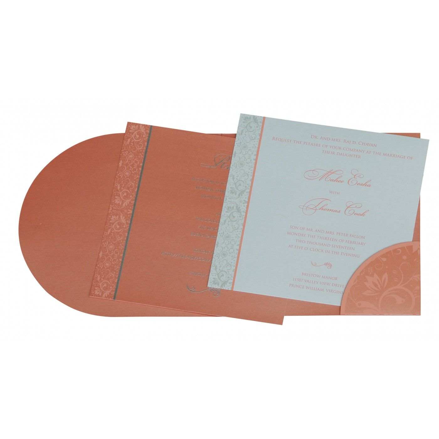 STRONG RED ORANGE SHIMMERY PAISLEY THEMED - SCREEN PRINTED WEDDING CARD : CG-8264A - IndianWeddingCards