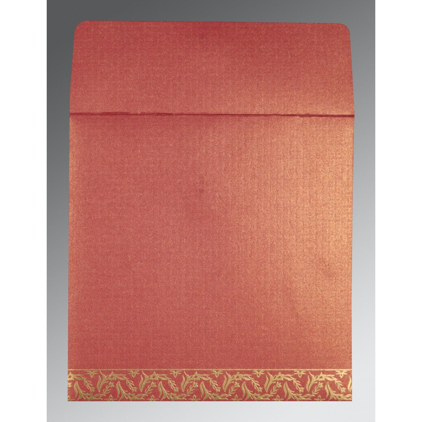 BRICK RED SHIMMERY UNIQUE THEMED - FOIL STAMPED WEDDING CARD : CS-8249K - IndianWeddingCards