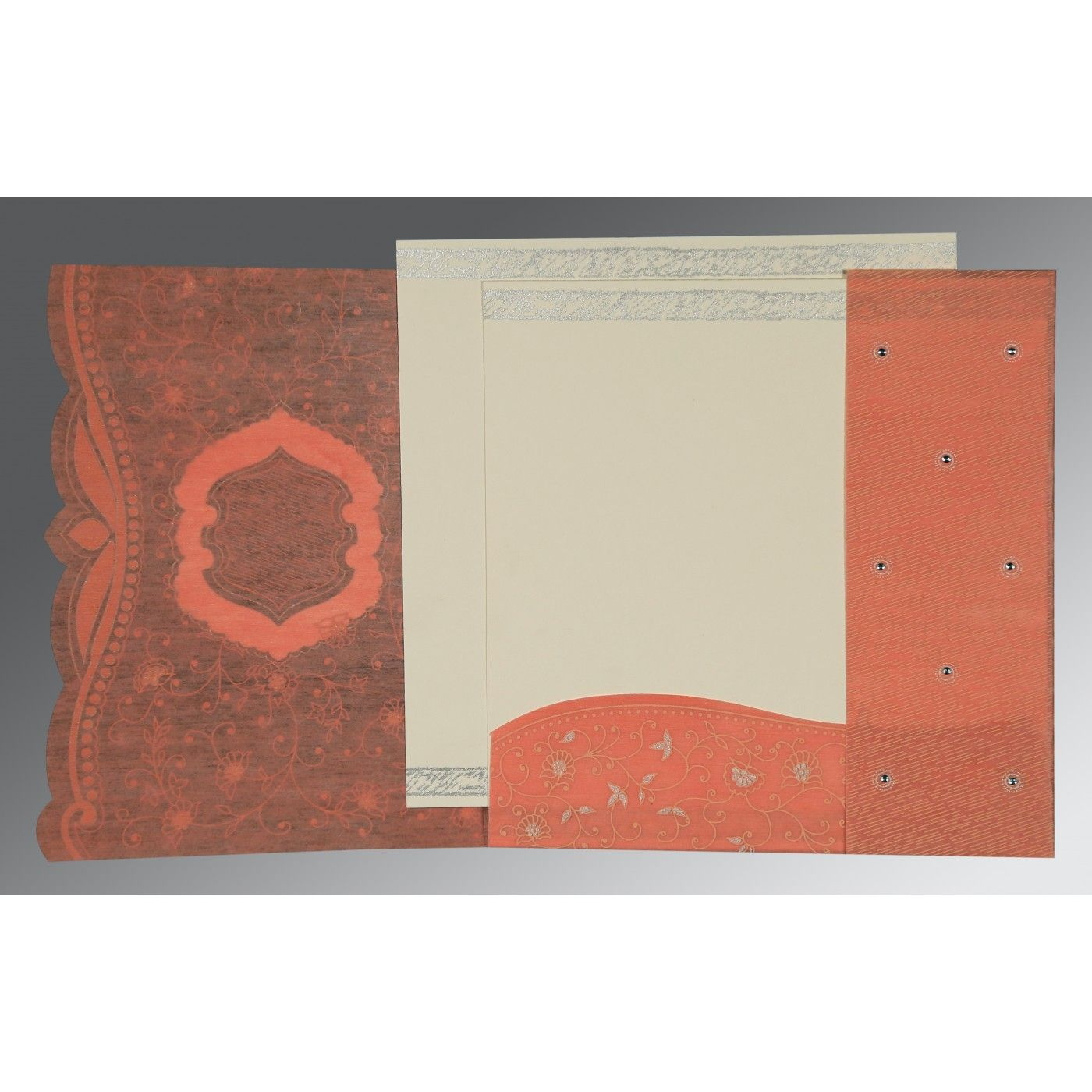 ORANGE SHIMMERY FLORAL THEMED - EMBOSSED WEDDING CARD : CD-8209A - IndianWeddingCards