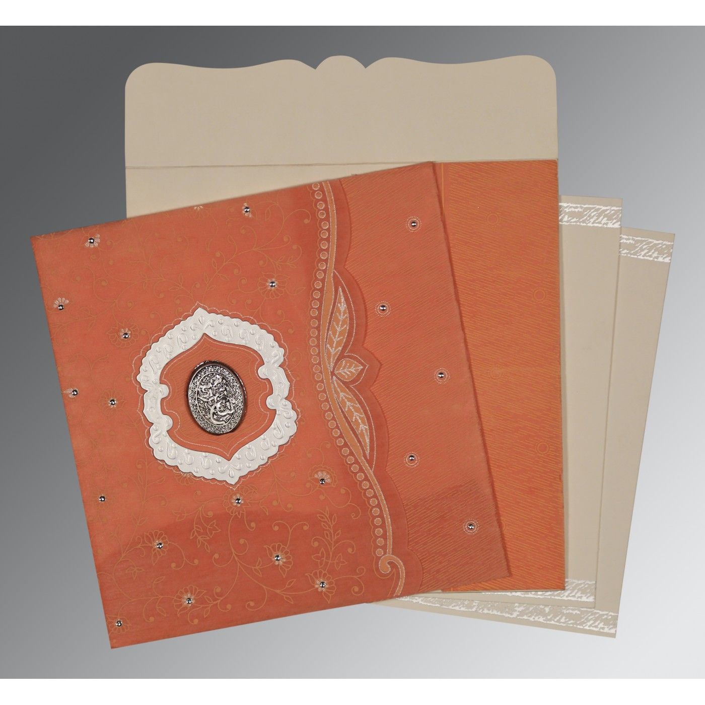 ORANGE SHIMMERY FLORAL THEMED - EMBOSSED WEDDING CARD : CI-8209A - IndianWeddingCards