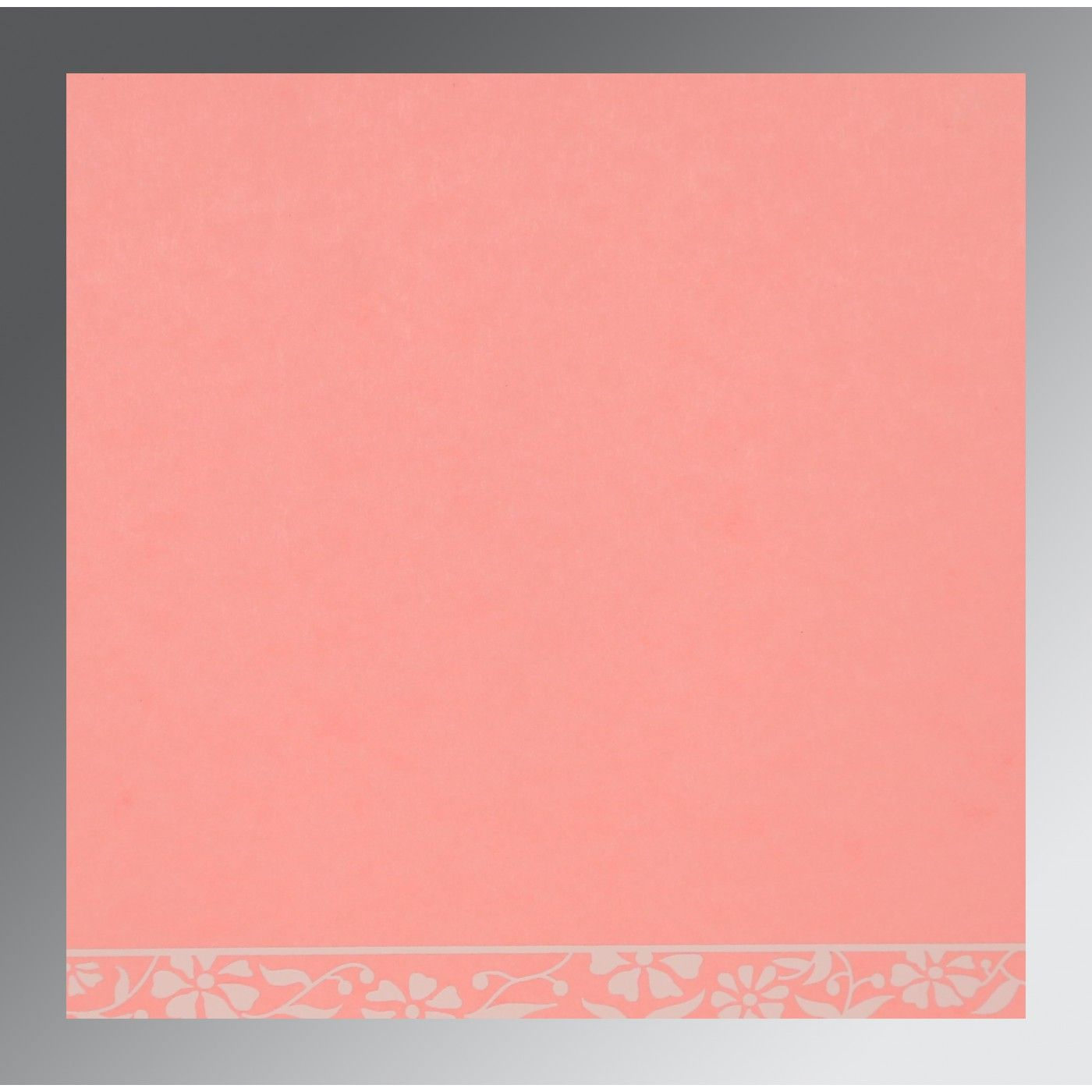 PINK MATTE FLORAL THEMED - SCREEN PRINTED WEDDING CARD : CG-8222E - IndianWeddingCards