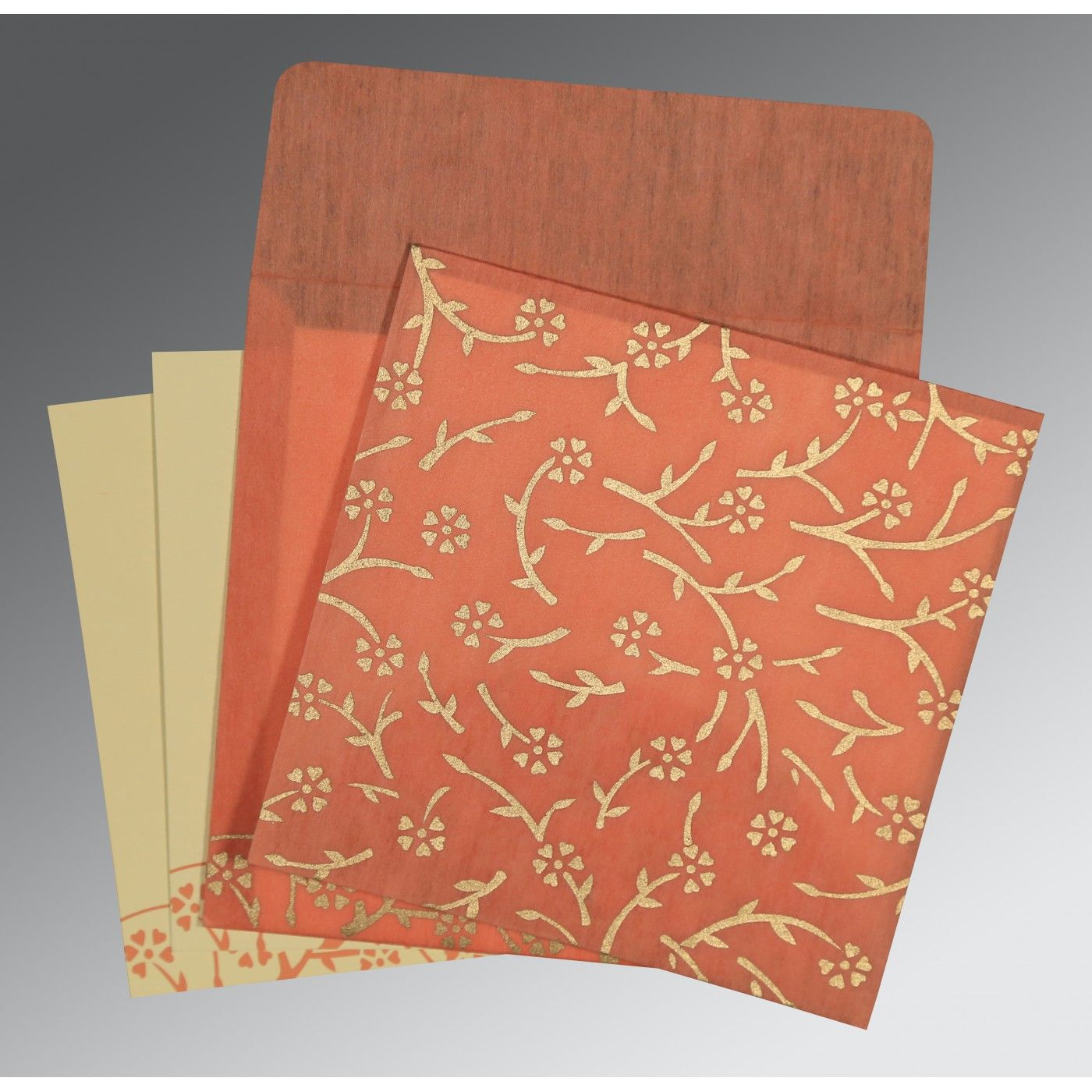 SALMON WOOLY FLORAL THEMED - SCREEN PRINTED WEDDING INVITATION : CSO-8216P - IndianWeddingCards