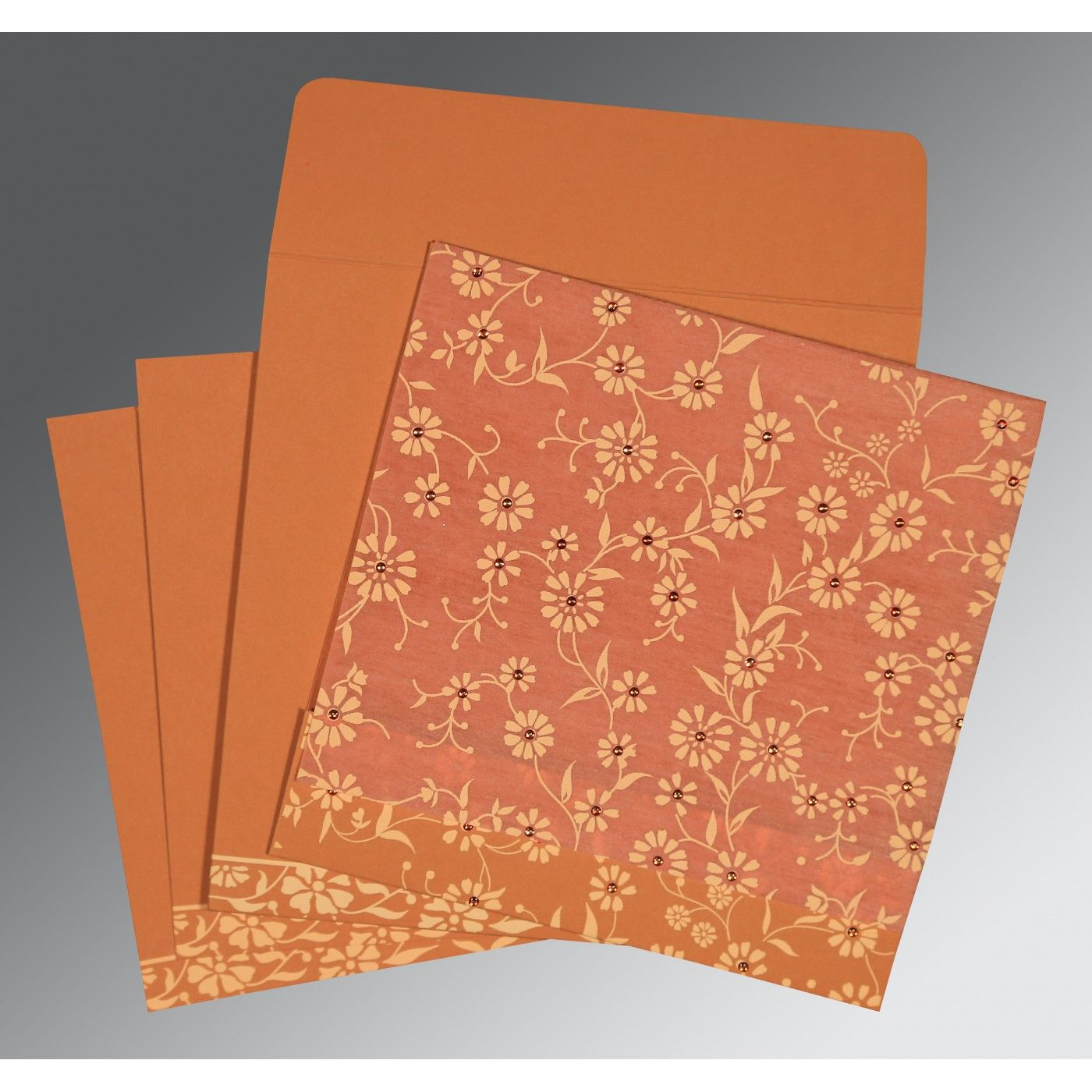 PEACH MATTE FLORAL THEMED - SCREEN PRINTED WEDDING CARD : CW-8222P - IndianWeddingCards