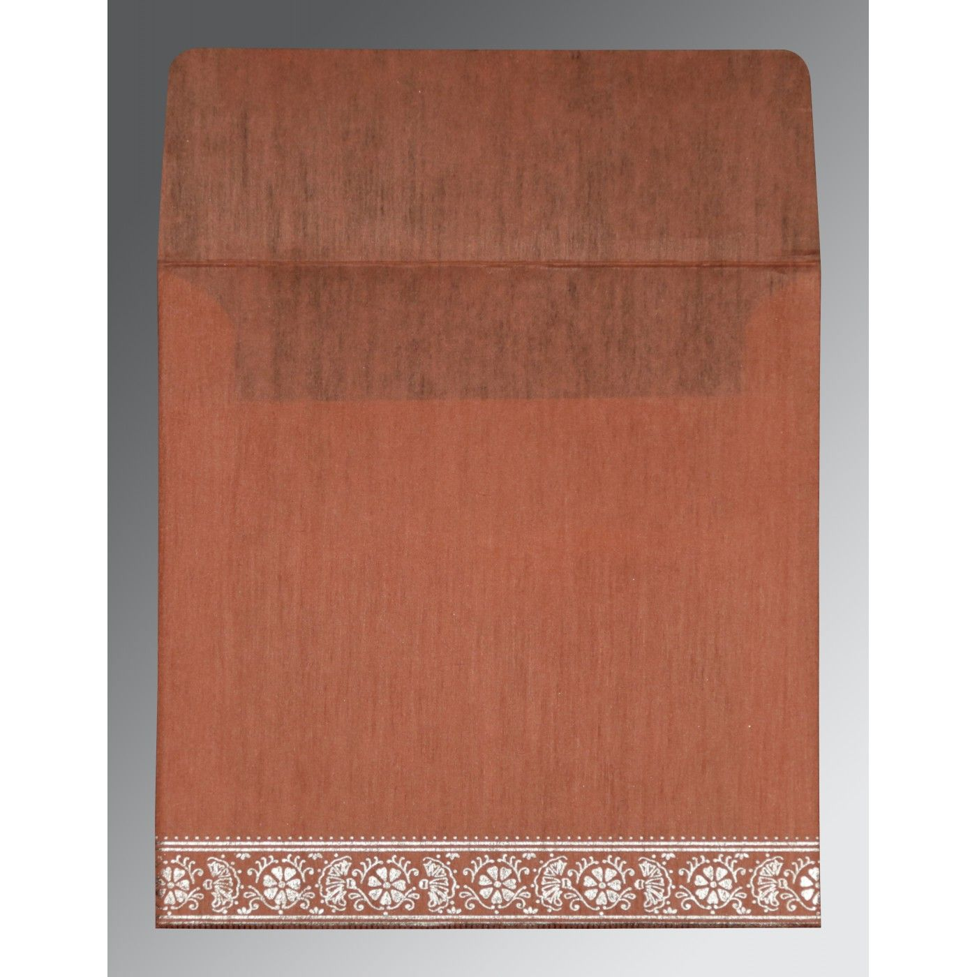 CORAL WOOLY FOIL STAMPED WEDDING CARD : CG-8242L - IndianWeddingCards