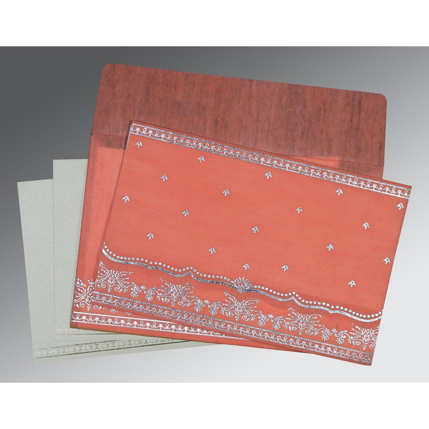 CORAL WOOLY FOIL STAMPED WEDDING INVITATION : CW-8241G - IndianWeddingCards