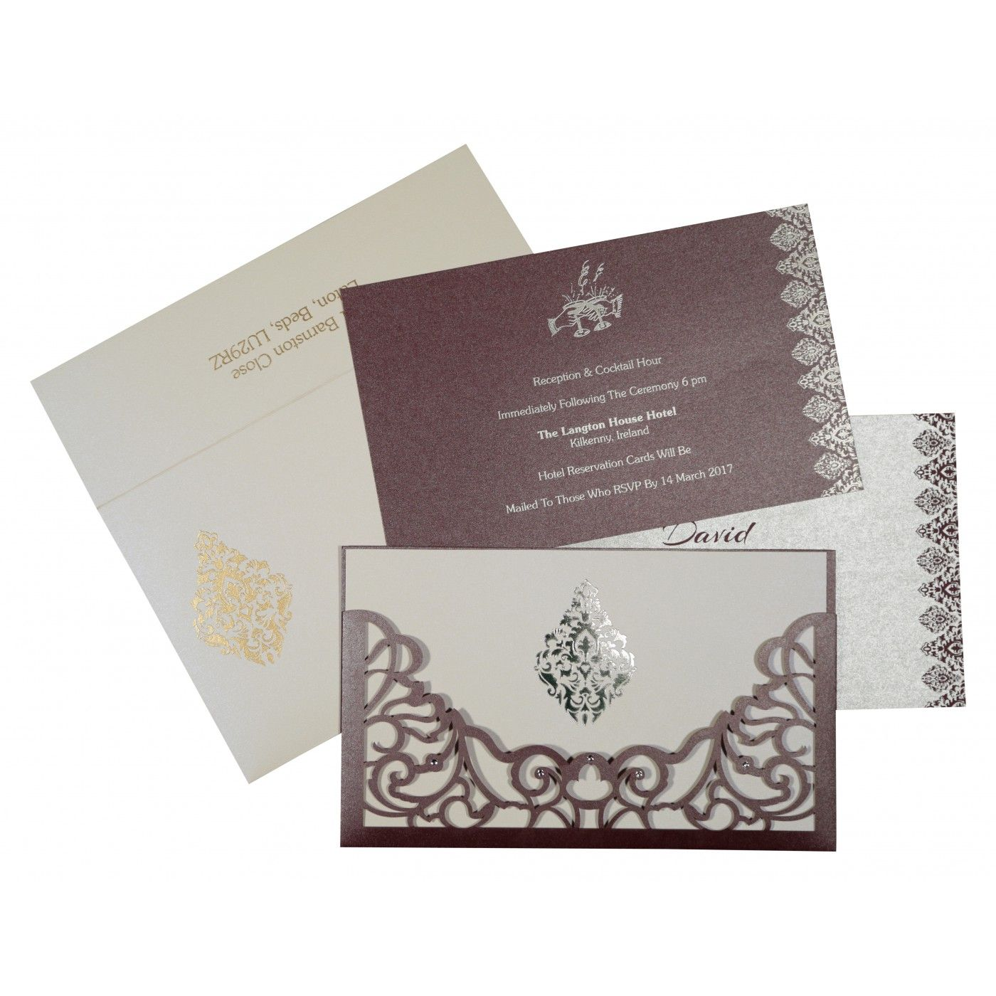 DESATURATED PINK SHIMMERY DAMASK THEMED - LASER CUT WEDDING CARD : CW-8262B - IndianWeddingCards