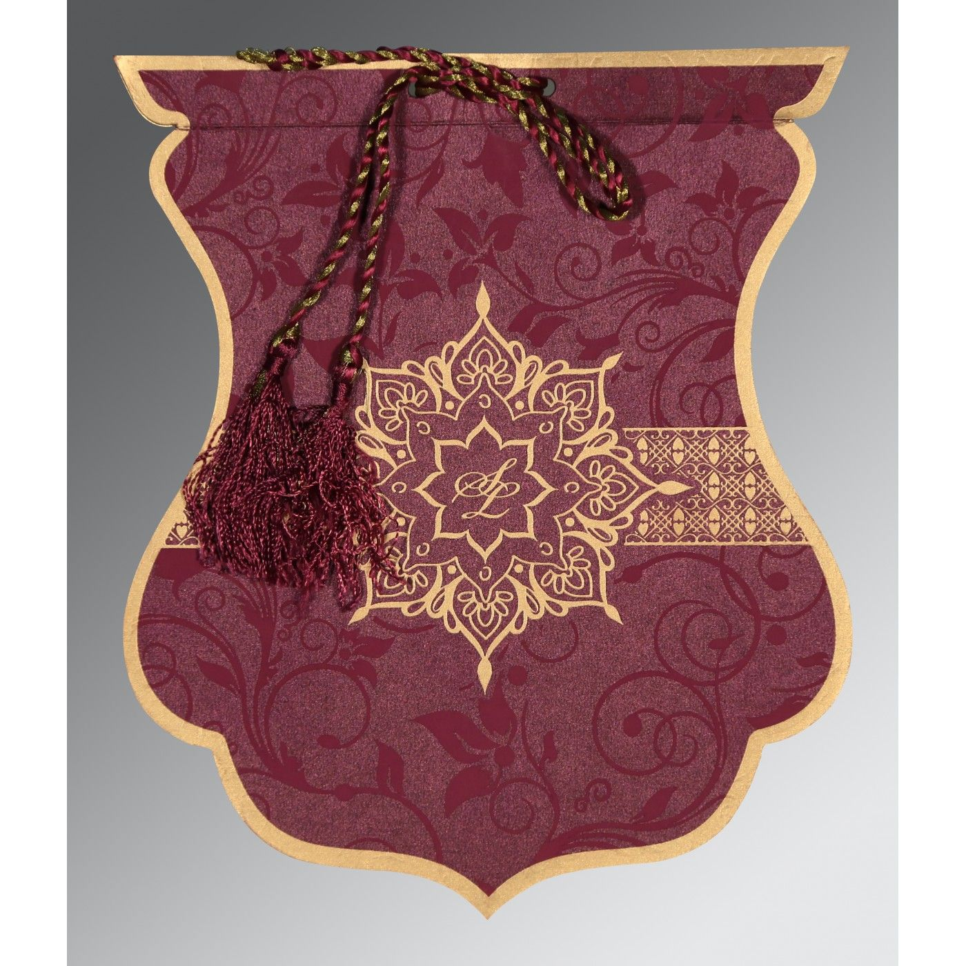 CLARET SHIMMERY FLORAL THEMED - SCREEN PRINTED WEDDING CARD : CS-8229K - IndianWeddingCards