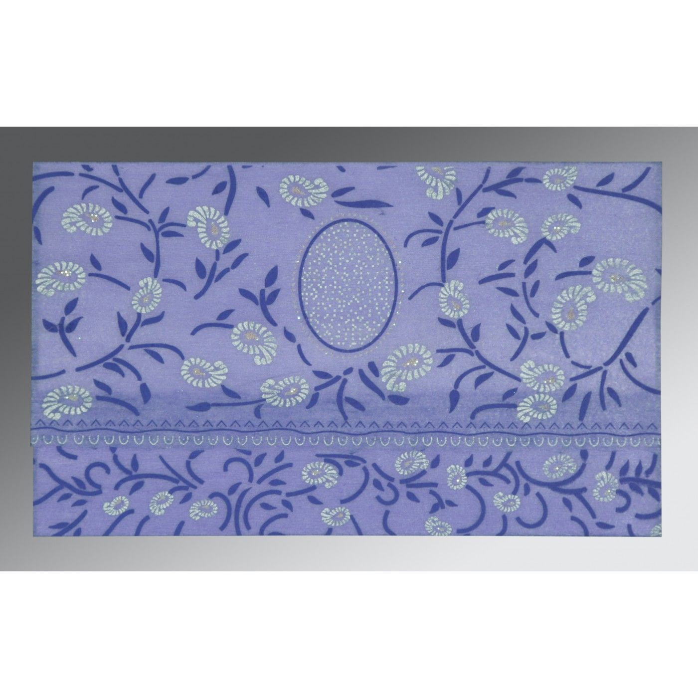 PURPLE WOOLY FLORAL THEMED - GLITTER WEDDING CARD : CD-8206A - IndianWeddingCards