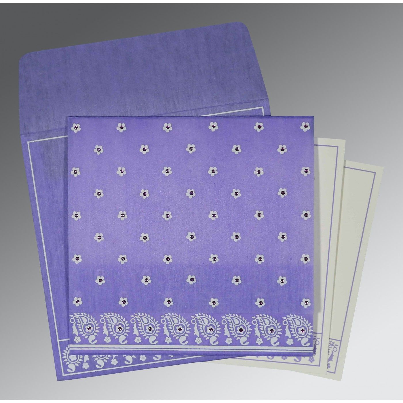 PINK PURPLE WOOLY FLORAL THEMED - SCREEN PRINTED WEDDING CARD : CS-8218H - IndianWeddingCards