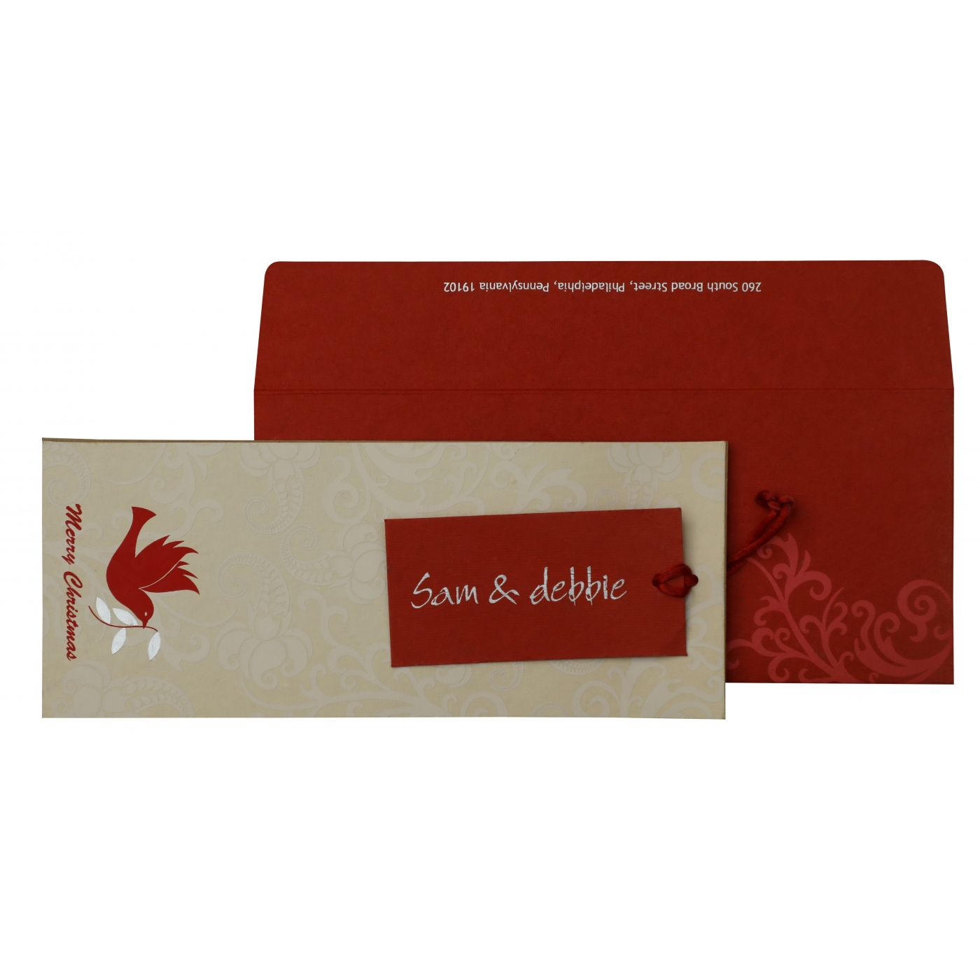 IVORY KHAKI RED HANDMADE COTTON PAISLEY THEMED - SCREEN PRINTED HOLIDAY CARDS : CH-856 - IndianWeddingCards