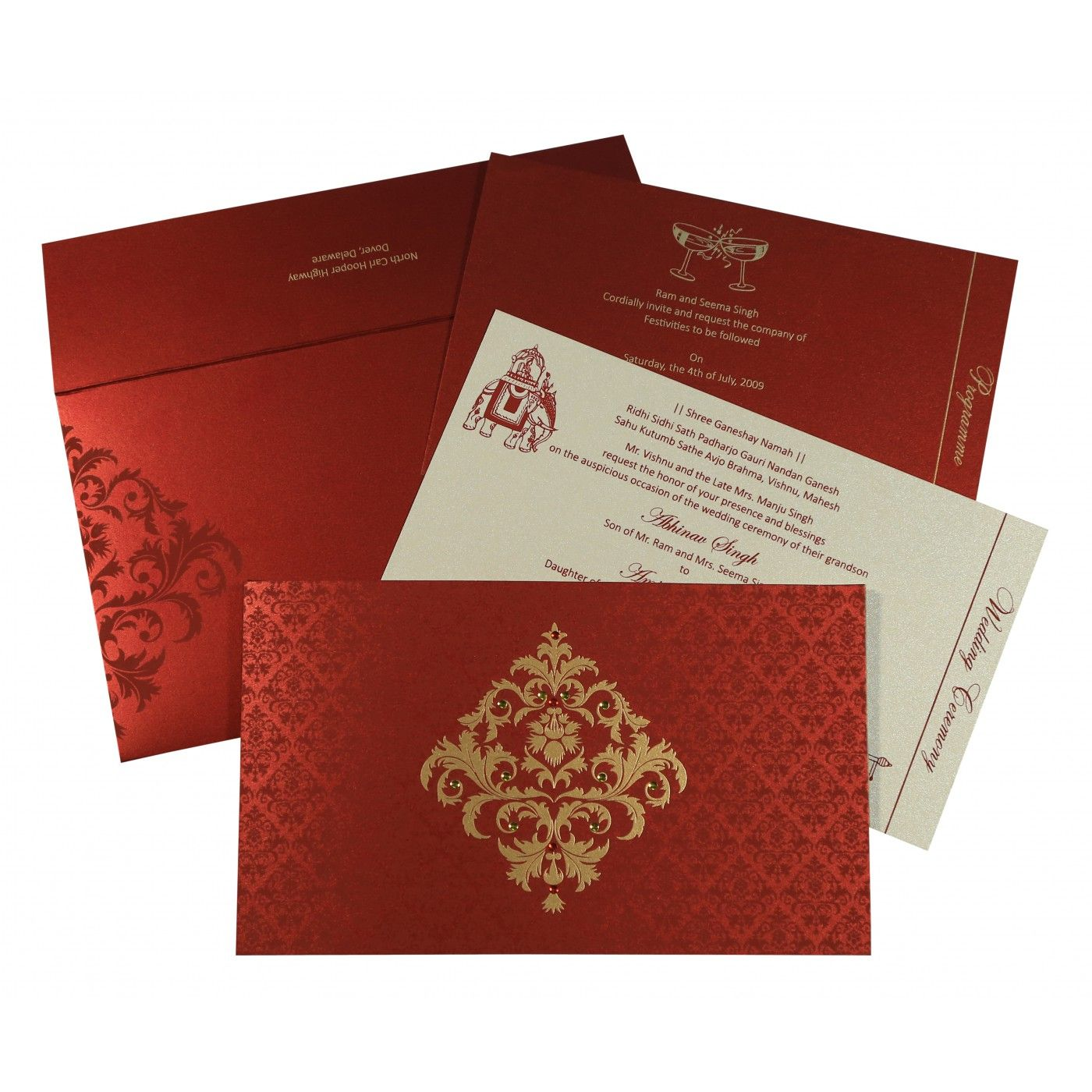MODERATE RED SHIMMERY DAMASK THEMED - SCREEN PRINTED WEDDING CARD : CRU-8257H - IndianWeddingCards
