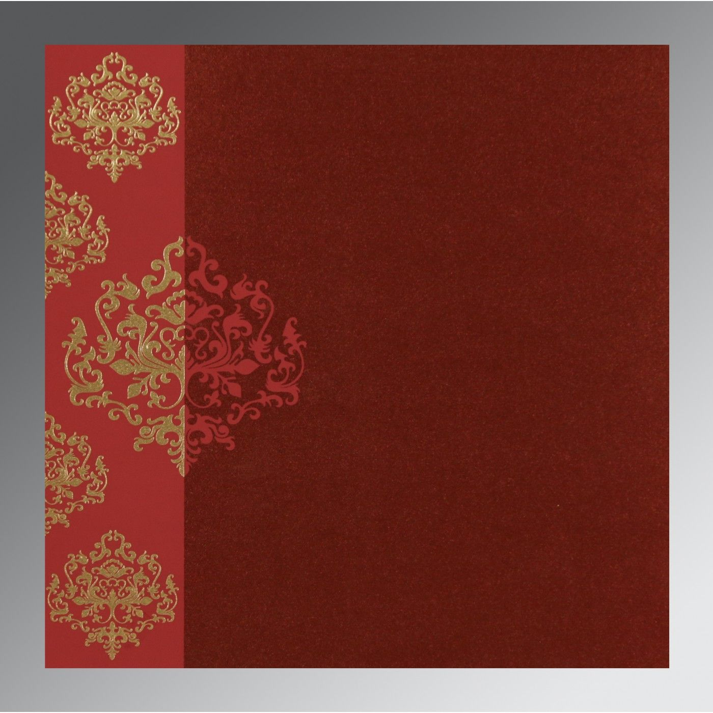 WINE RED SHIMMERY DAMASK THEMED - SCREEN PRINTED WEDDING CARD : CSO-8254B - IndianWeddingCards