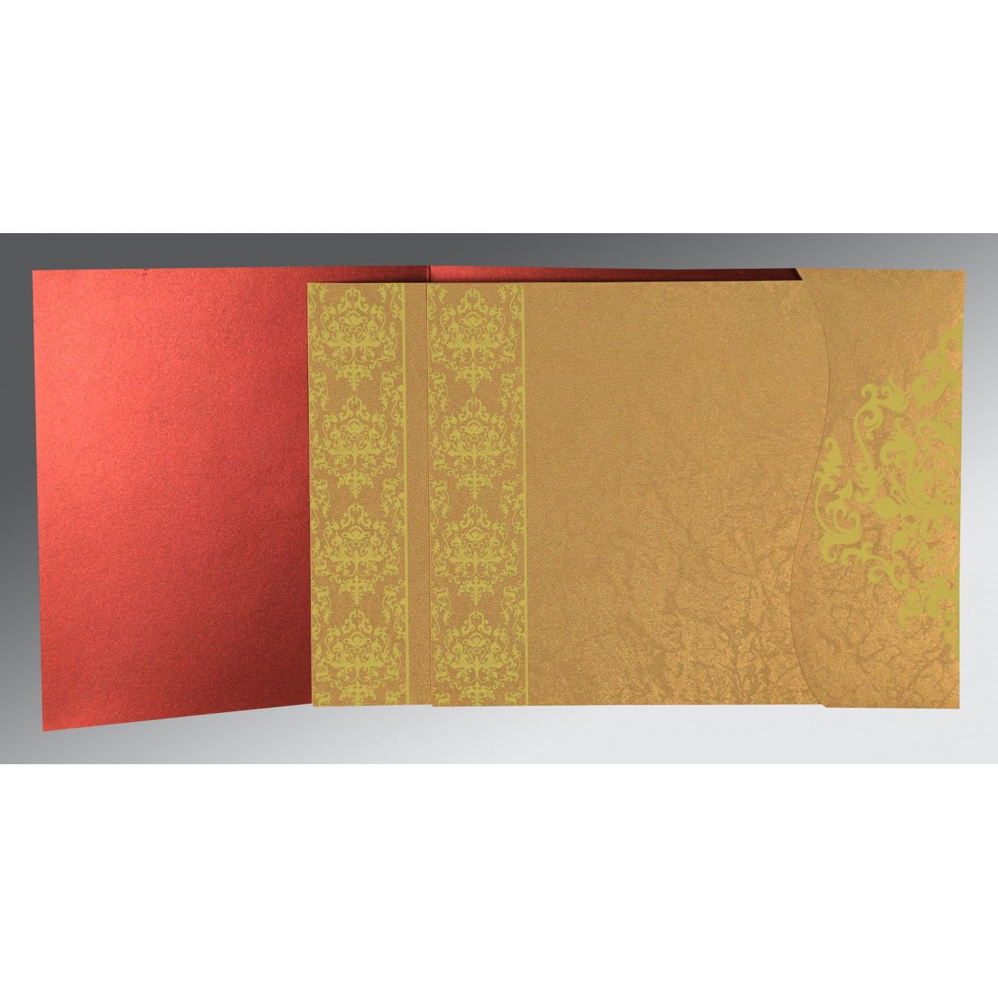 GOLD WINE RED SHIMMERY DAMASK THEMED - SCREEN PRINTED WEDDING CARD : CW-8253B - IndianWeddingCards