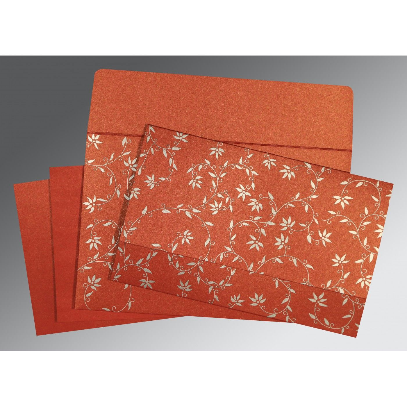 BRICK RED SHIMMERY FLORAL THEMED - SCREEN PRINTED WEDDING INVITATION : CS-8226I - IndianWeddingCards