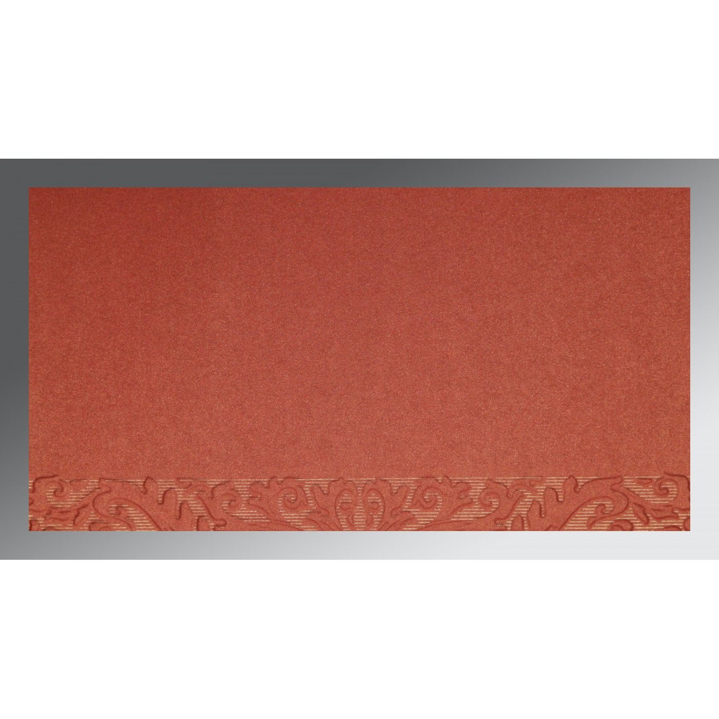 COPPER BRICK RED SHIMMERY FOIL STAMPED WEDDING CARD : CSO-1465 - IndianWeddingCards