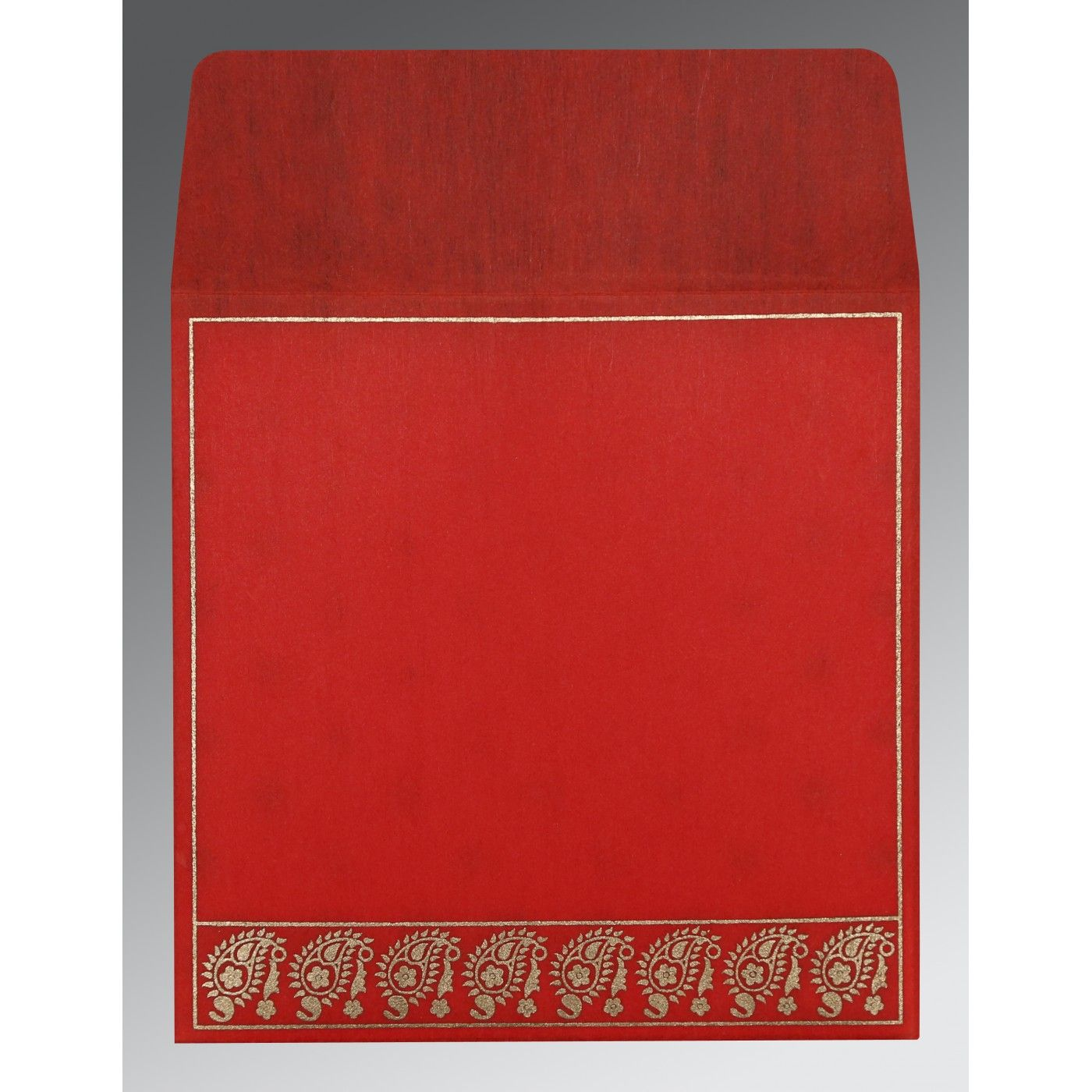 SCARLET WOOLY FLORAL THEMED - SCREEN PRINTED WEDDING CARD : CSO-8218M - IndianWeddingCards