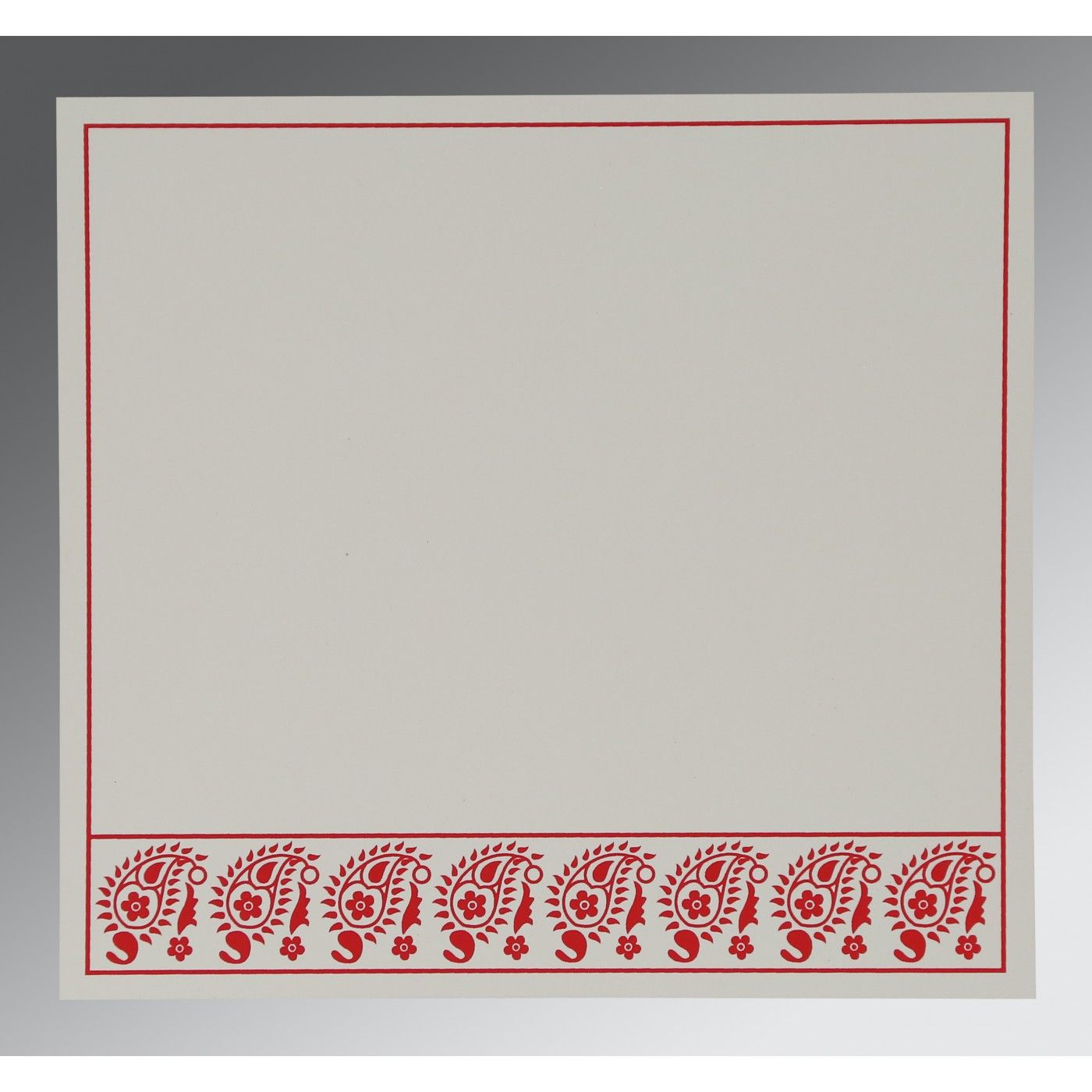 SCARLET WOOLY FLORAL THEMED - SCREEN PRINTED WEDDING CARD : CW-8218M - IndianWeddingCards