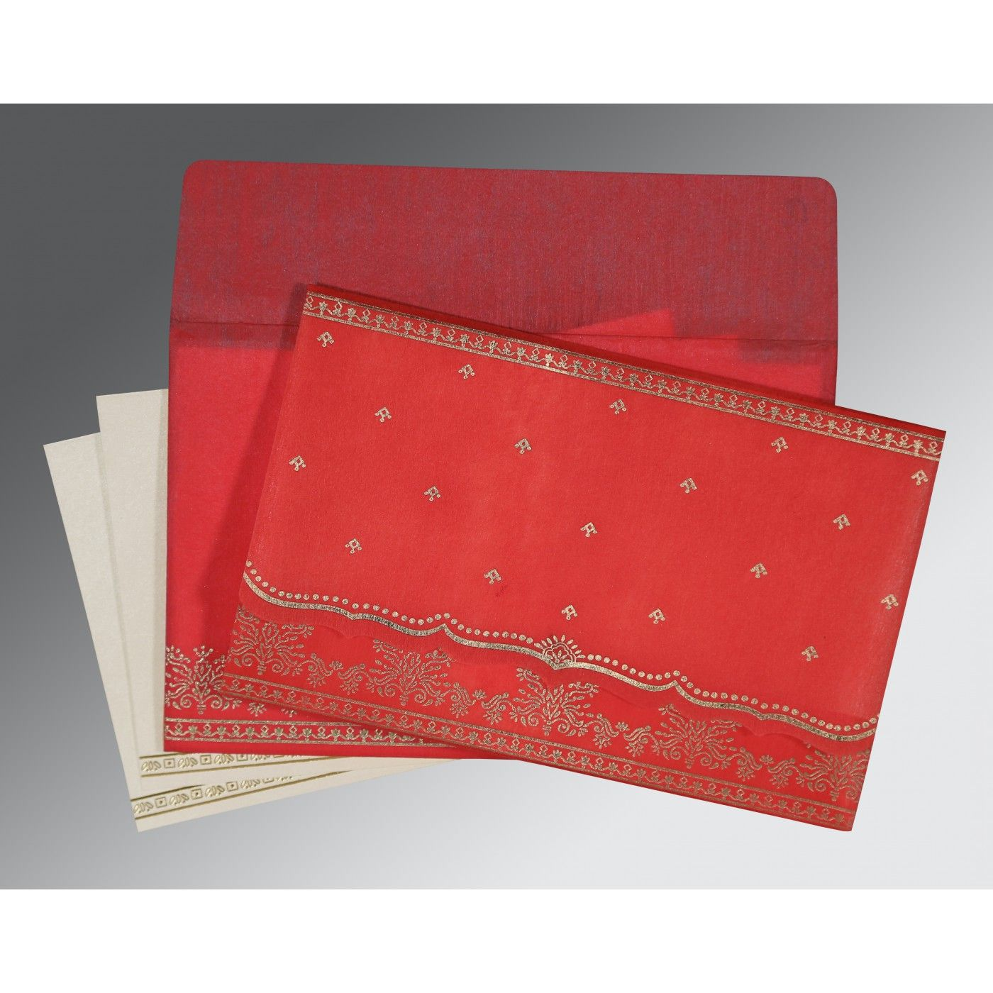 IMPERIAL RED WOOLY FOIL STAMPED WEDDING INVITATION : CIN-8241Q - IndianWeddingCards