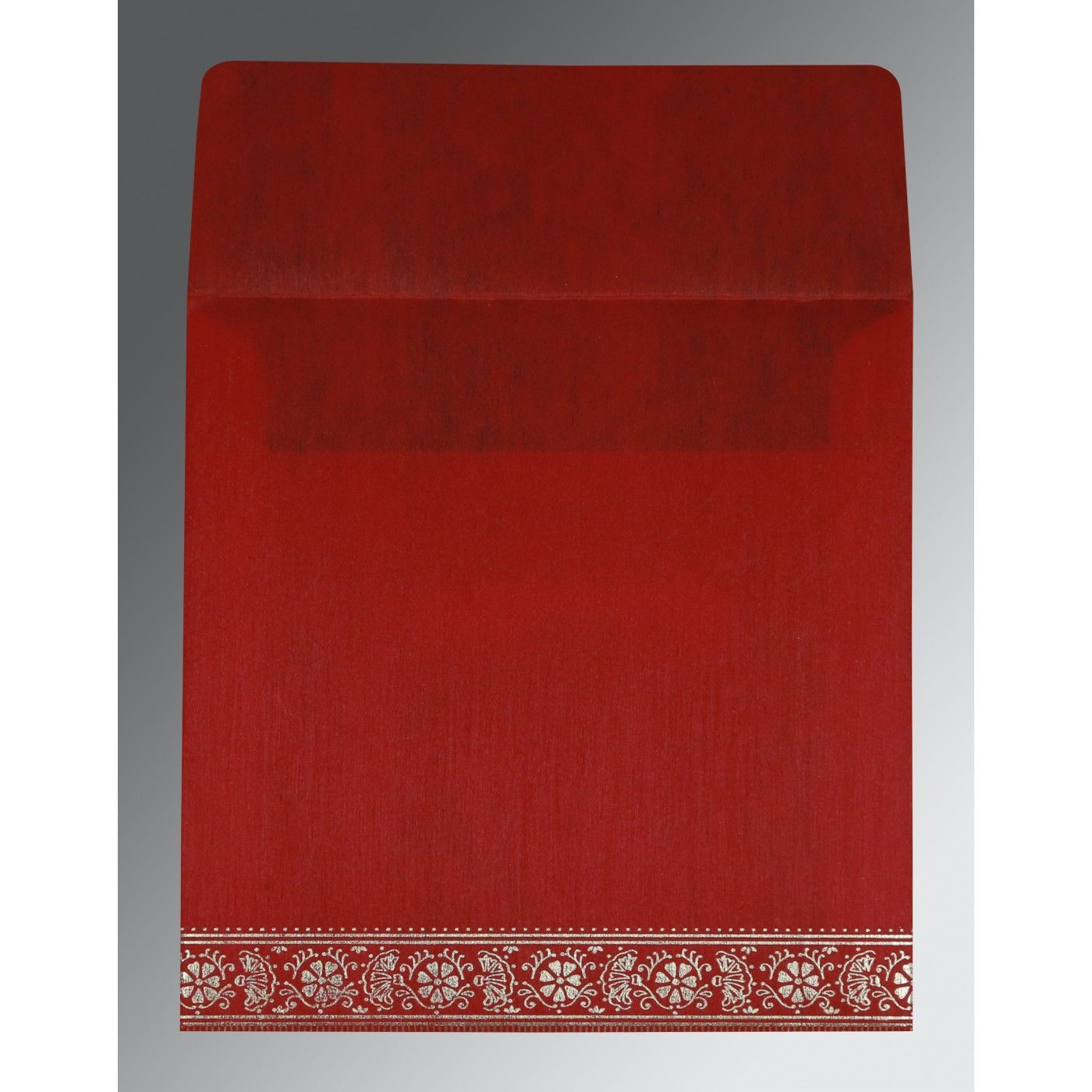 RED WOOLY FOIL STAMPED WEDDING CARD : CIN-8242A - IndianWeddingCards