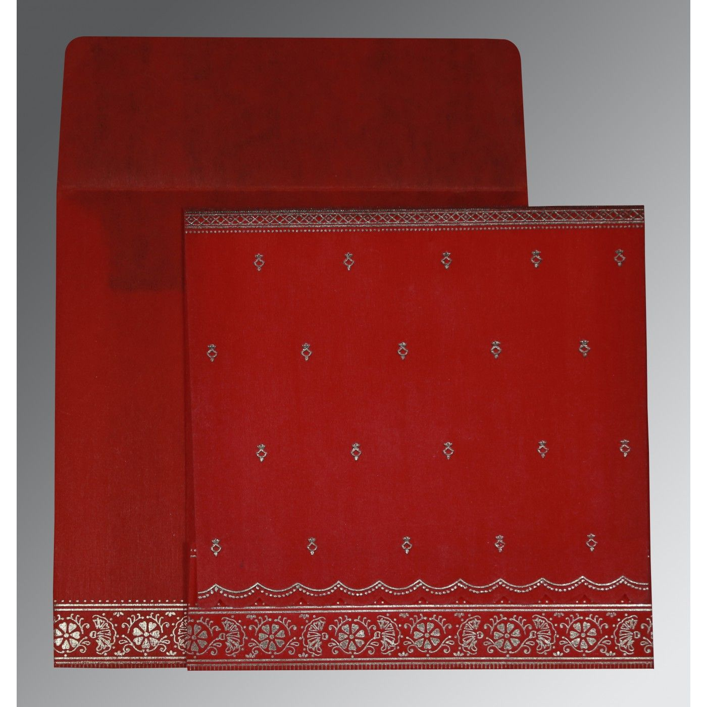 RED WOOLY FOIL STAMPED WEDDING CARD : CS-8242A - IndianWeddingCards