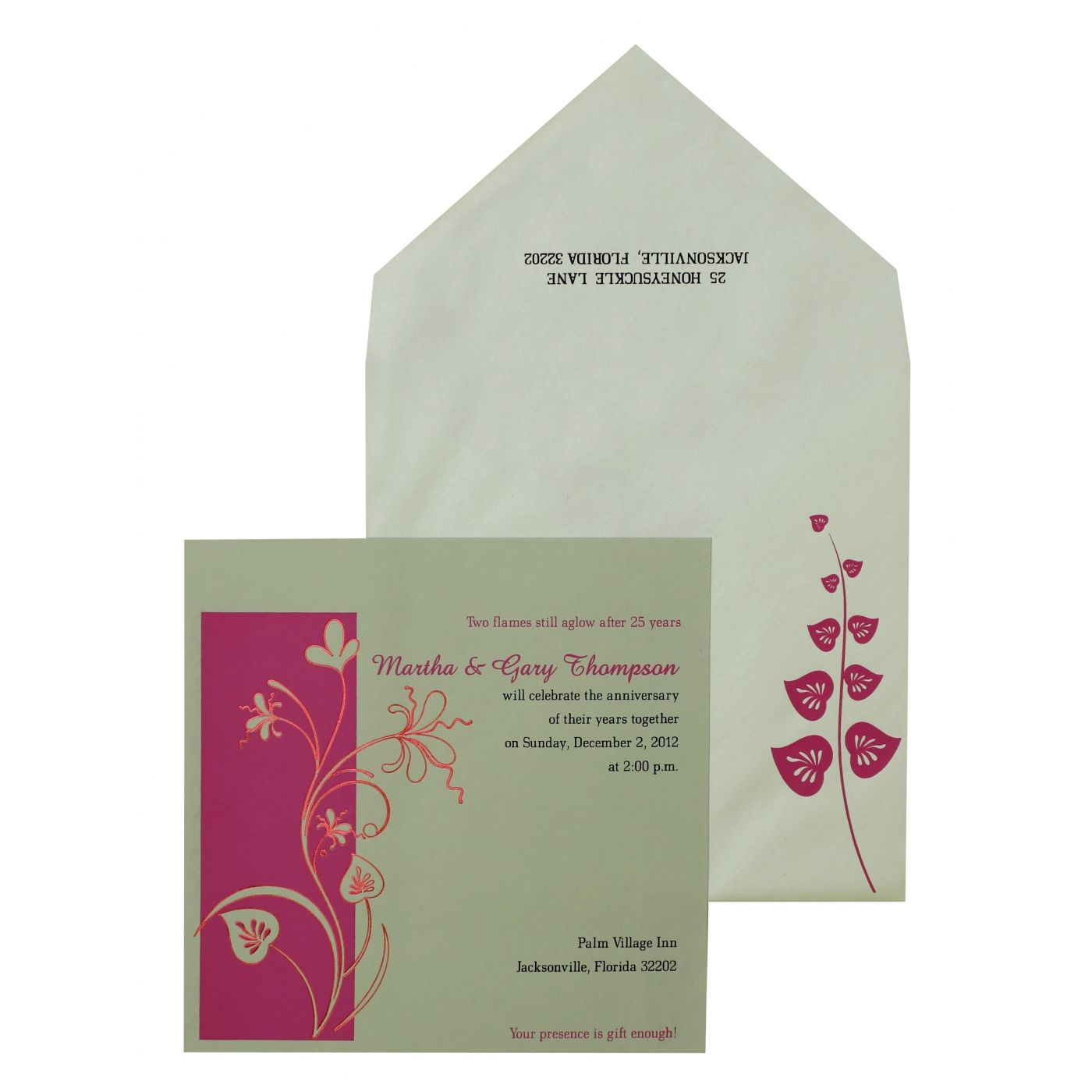 SAGE GREEN MATTE FLORAL THEMED - FOIL STAMPED PARTY CARDS : CPY-885 - IndianWeddingCards