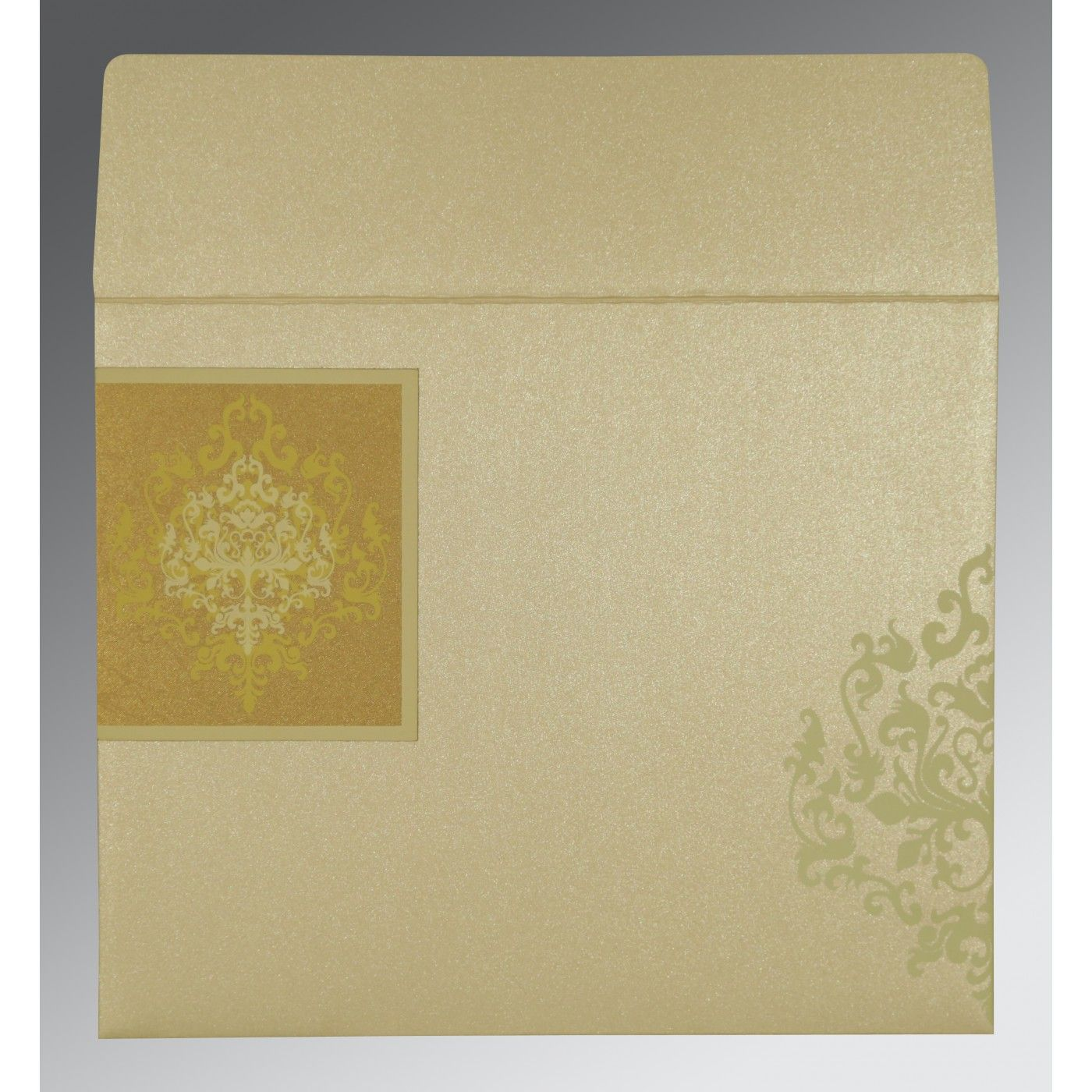 GOLD SHIMMERY DAMASK THEMED - SCREEN PRINTED WEDDING CARD : CSO-8253H - IndianWeddingCards