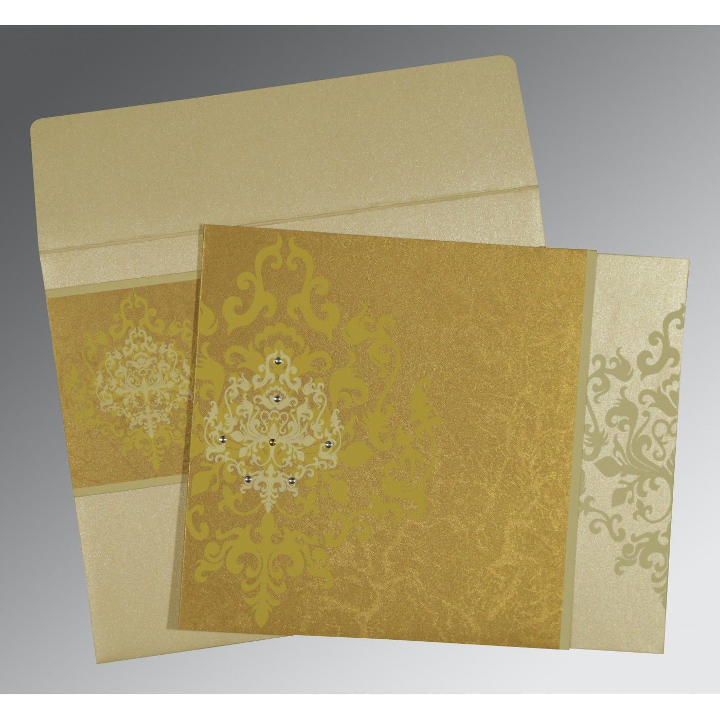 GOLD SHIMMERY DAMASK THEMED - SCREEN PRINTED WEDDING CARD : CW-8253H - IndianWeddingCards