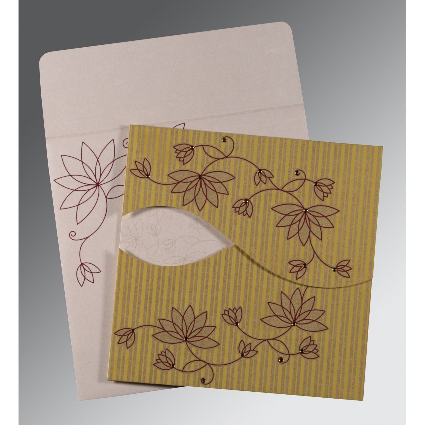 GOLD SHIMMERY FLORAL THEMED - SCREEN PRINTED WEDDING INVITATION : CD-8251E - IndianWeddingCards