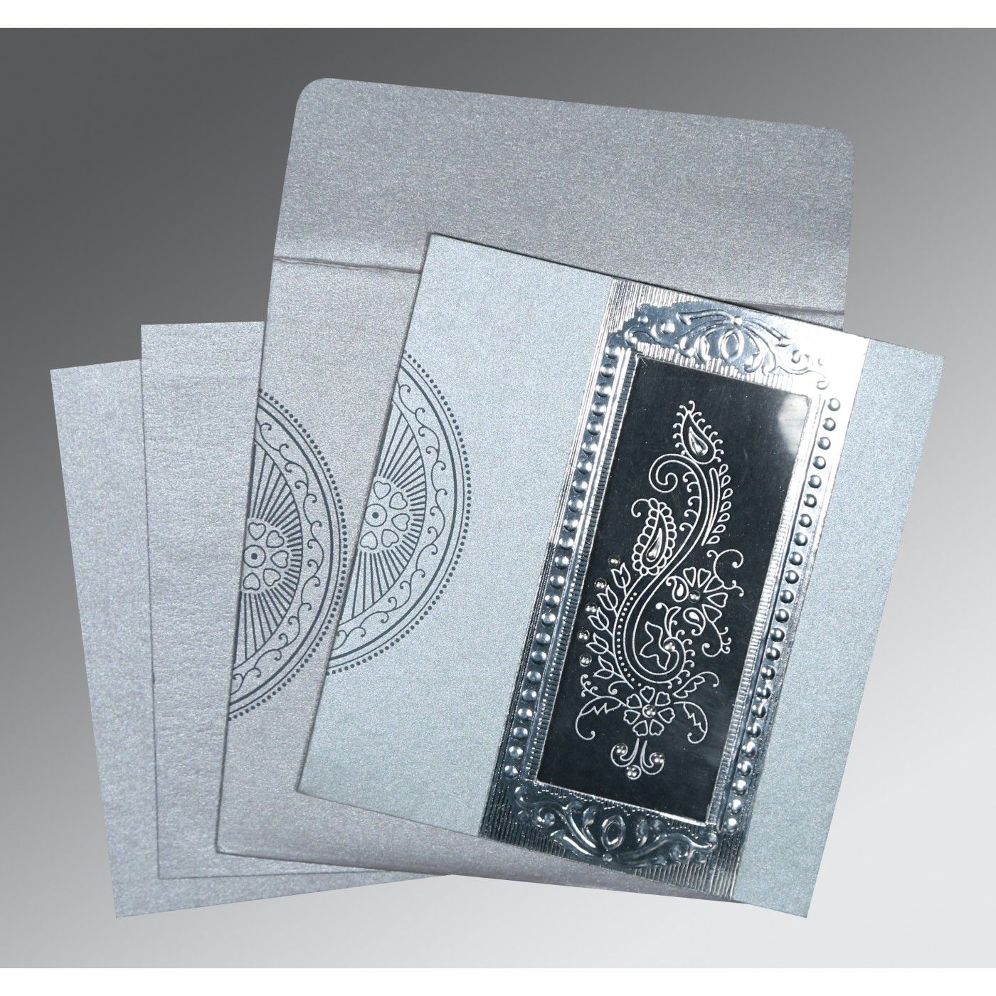 SILVER SHIMMERY PAISLEY THEMED - FOIL STAMPED WEDDING INVITATION : CD-8230F - IndianWeddingCards