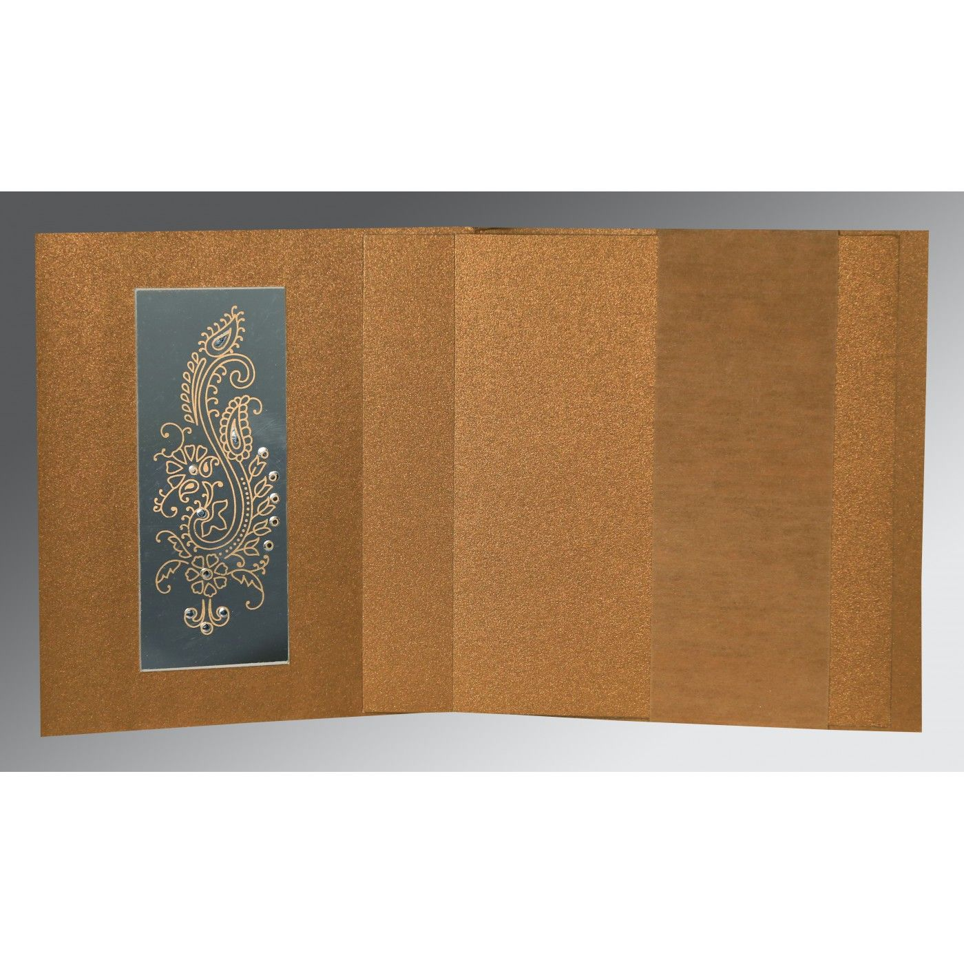 COPPER SHIMMERY PAISLEY THEMED - FOIL STAMPED WEDDING INVITATION : CIN-8230Q - IndianWeddingCards