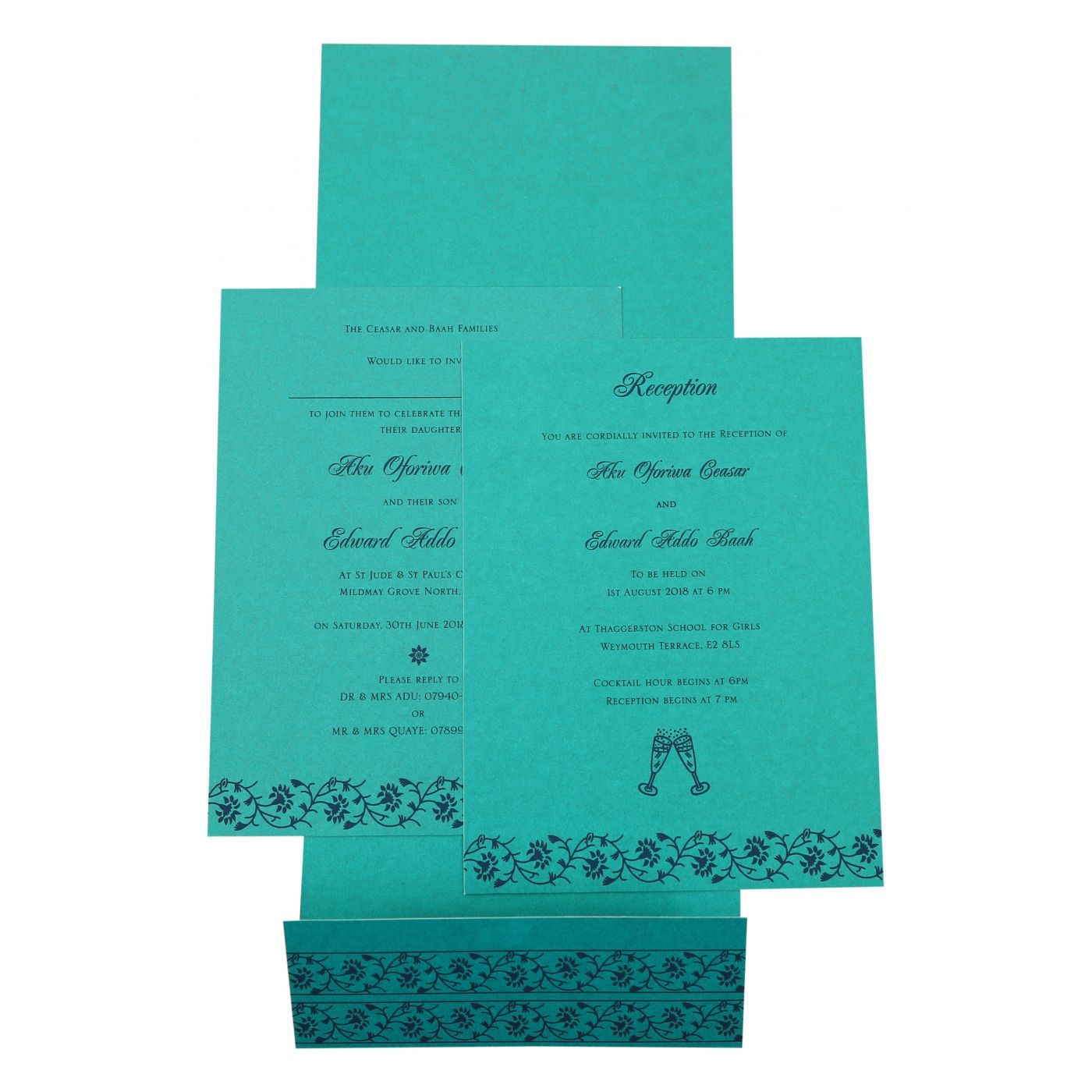 TURQUOISE SHIMMERY FLORAL THEMED - SCREEN PRINTED WEDDING INVITATION : CSO-822C - IndianWeddingCards