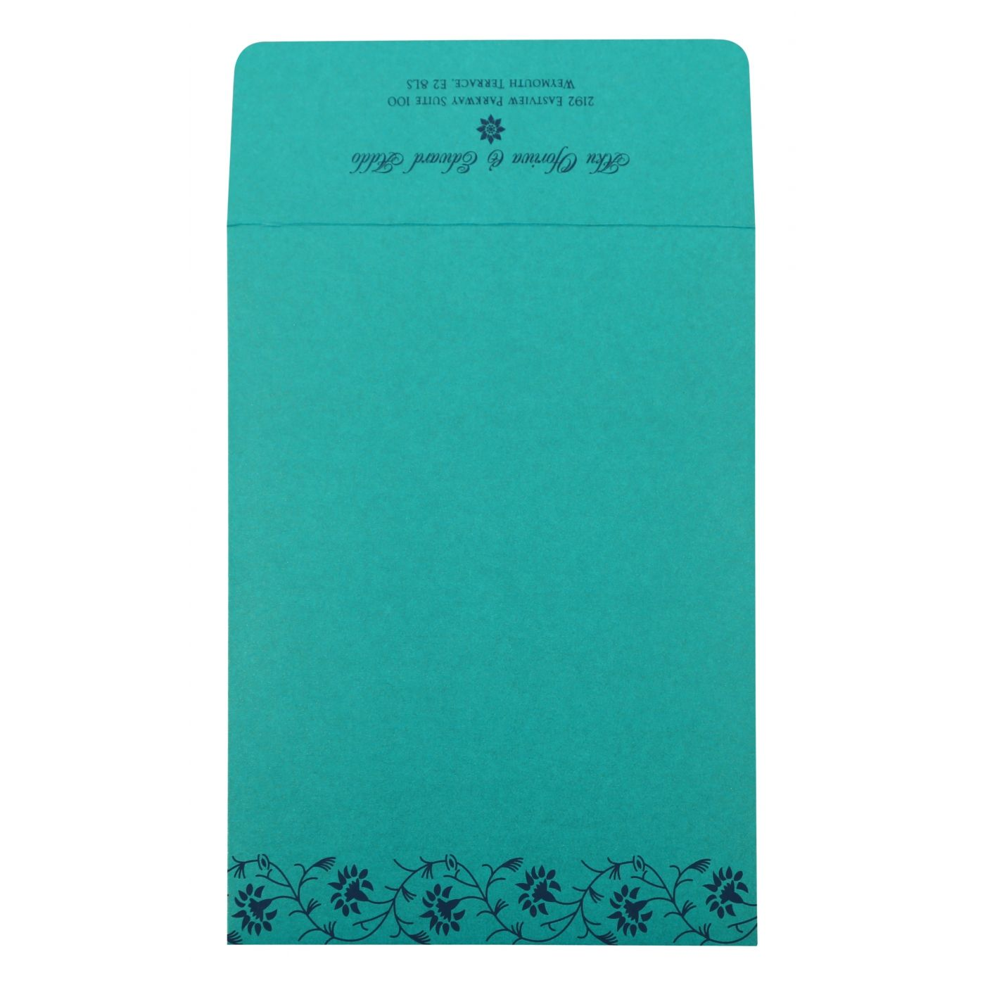 TURQUOISE SHIMMERY FLORAL THEMED - SCREEN PRINTED WEDDING INVITATION : CW-822C - IndianWeddingCards