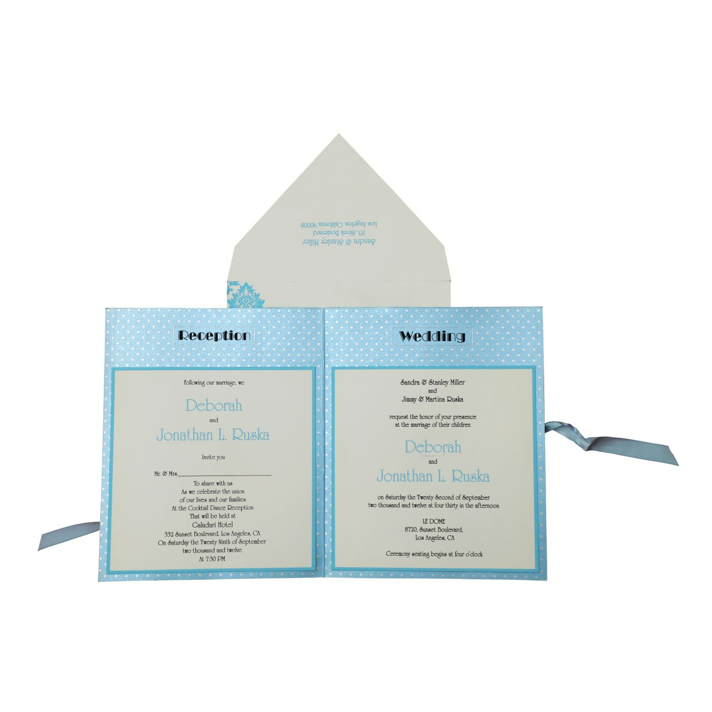 TURQUOISE SHIMMERY PAISLEY THEMED - SCREEN PRINTED WEDDING INVITATION : CW-835 - IndianWeddingCards