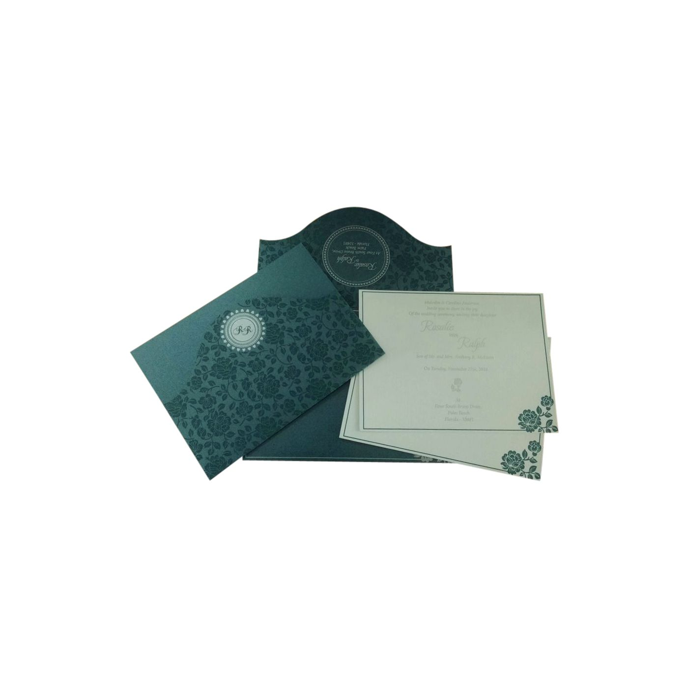 SAGE GREEN SHIMMERY FLORAL THEMED - SCREEN PRINTED WEDDING INVITATION : CD-802D - IndianWeddingCards
