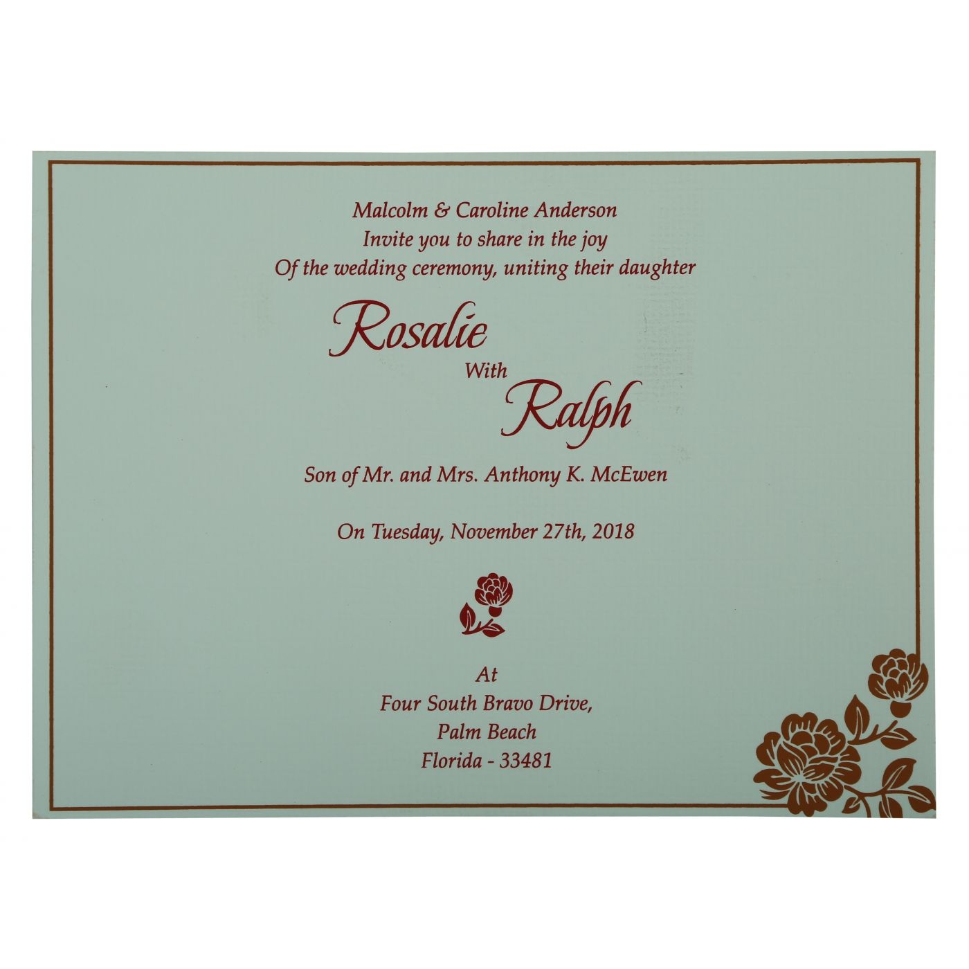 COPPER SHIMMERY FLORAL THEMED - SCREEN PRINTED WEDDING INVITATION : CG-802E - IndianWeddingCards