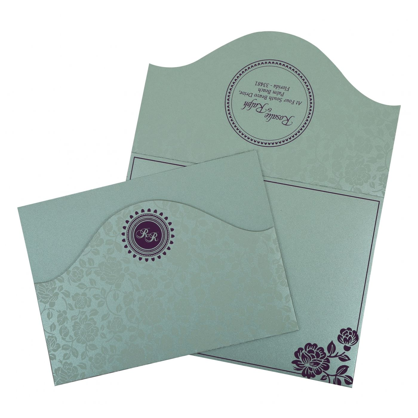 SILVER SHIMMERY FLORAL THEMED - SCREEN PRINTED WEDDING INVITATION : CSO-802A - IndianWeddingCards