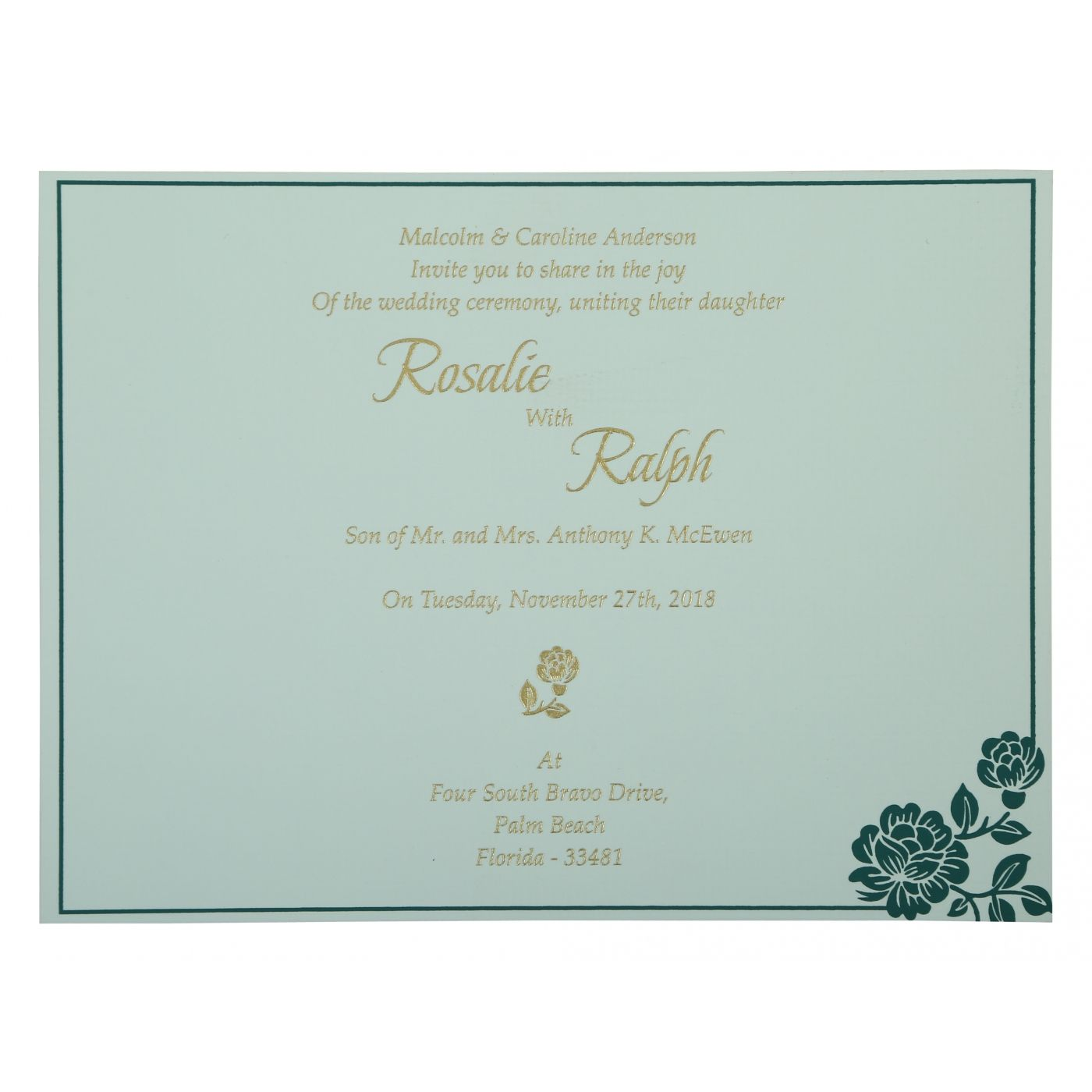 GREEN SHIMMERY FLORAL THEMED - SCREEN PRINTED WEDDING INVITATION : CW-802C - IndianWeddingCards