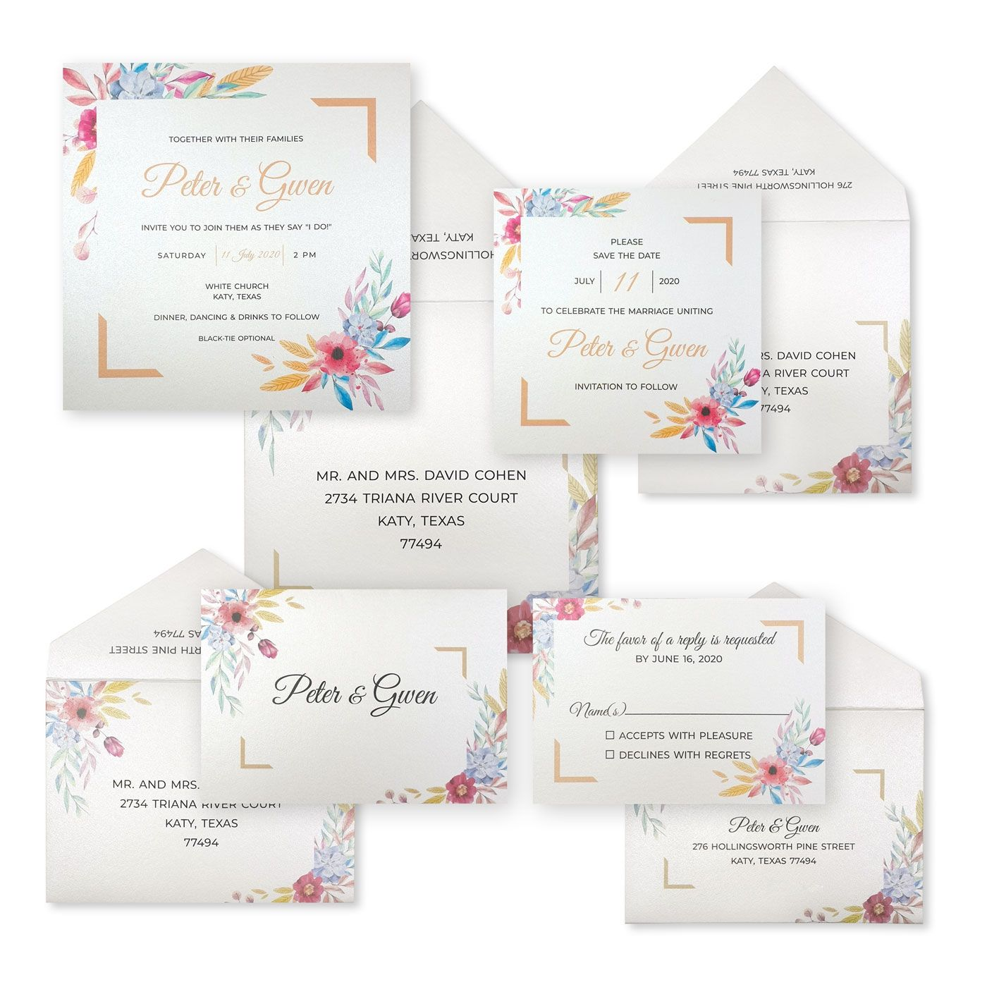 WHITE SHIMMERY FLORAL THEMED WEDDING INVITATION : C-BOUQUET - IndianWeddingCards