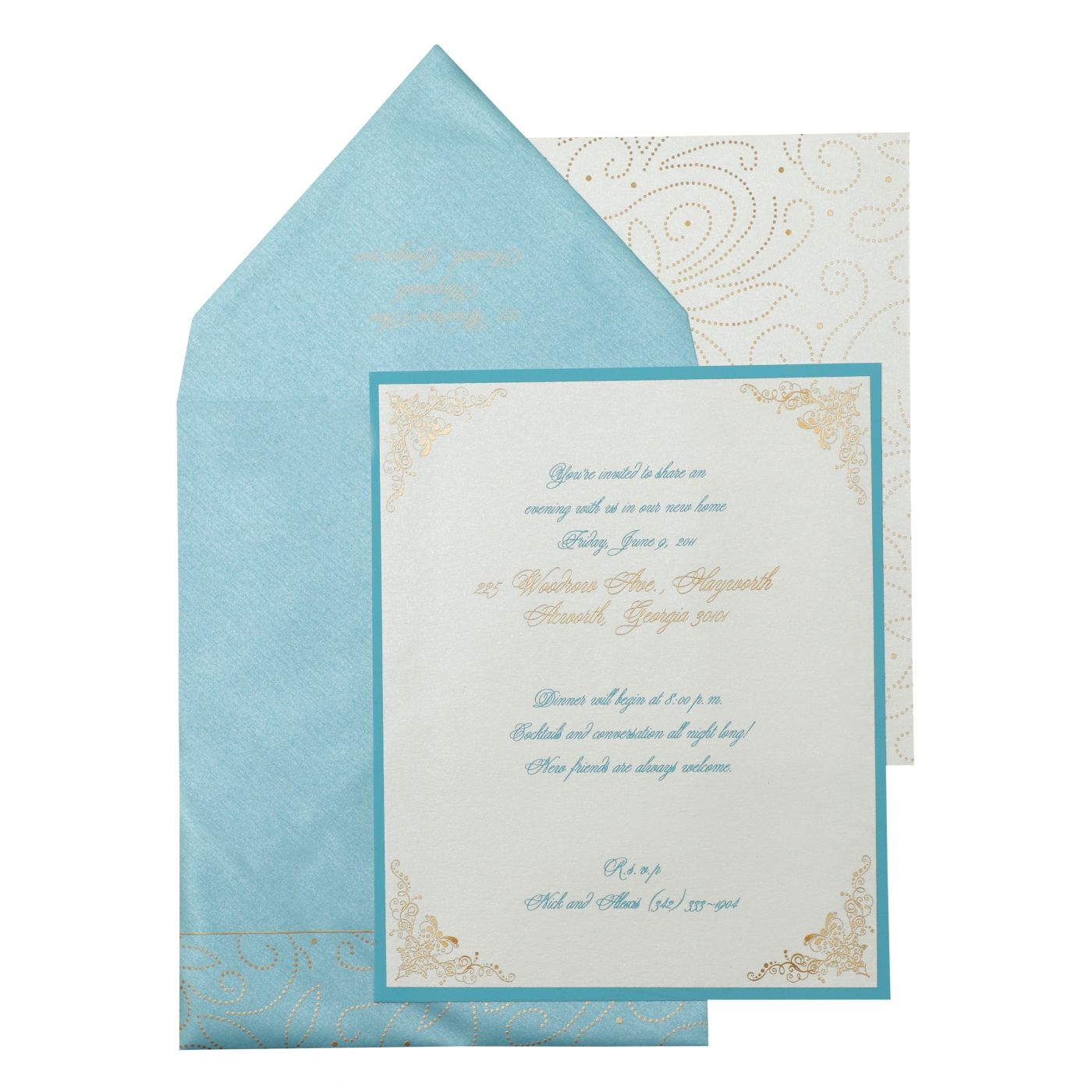WHITE SHIMMERY PAISLEY THEMED - SCREEN PRINTED PARTY CARDS : CPY-896 - IndianWeddingCards