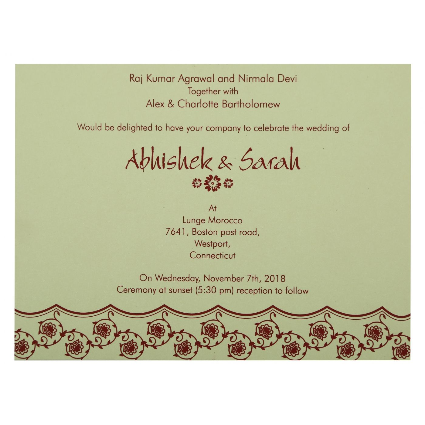 WINE RED SHIMMERY BUTTERFLY THEMED - SCREEN PRINTED WEDDING INVITATION : CD-821D - IndianWeddingCards