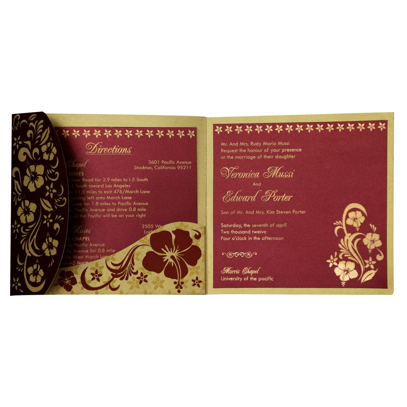 WINE RED SHIMMERY FLORAL THEMED - LASER CUT WEDDING INVITATION : CD-828 - IndianWeddingCards