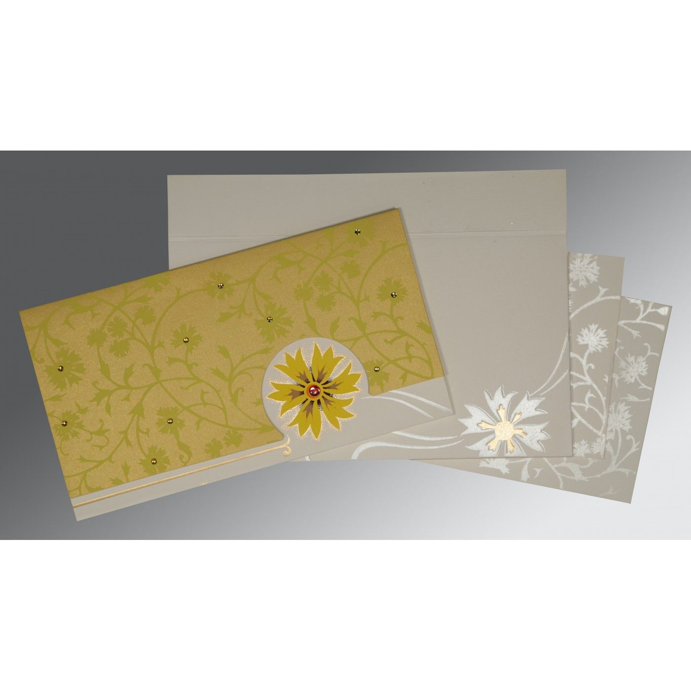 YELLOW OFF-WHITE MATTE FLORAL THEMED - EMBOSSED WEDDING CARD : CI-1380 - IndianWeddingCards