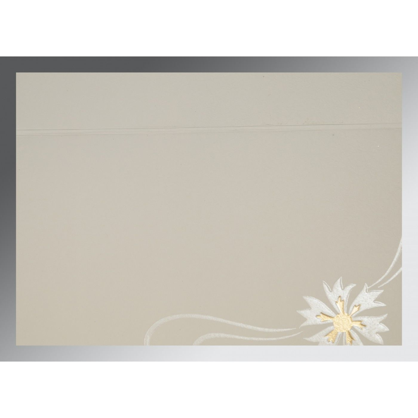 OFF-WHITE YELLOW MATTE FLORAL THEMED - EMBOSSED WEDDING CARD : CW-1380 - IndianWeddingCards