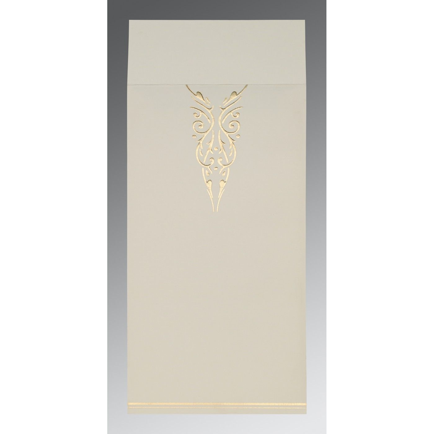 YELLOW GOLD SHIMMERY FOIL STAMPED WEDDING CARD : CI-1350 - IndianWeddingCards
