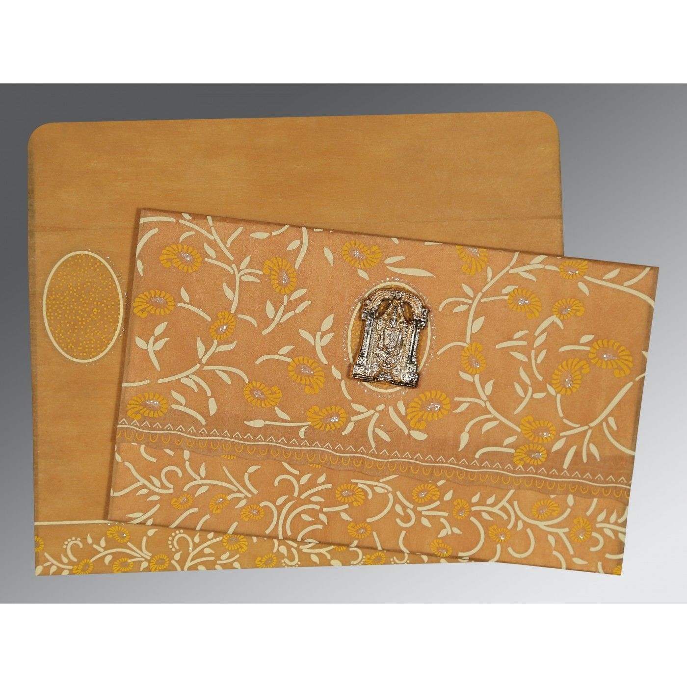 MUSTARD YELLOW WOOLY FLORAL THEMED - GLITTER WEDDING CARD : CSO-8206H - IndianWeddingCards